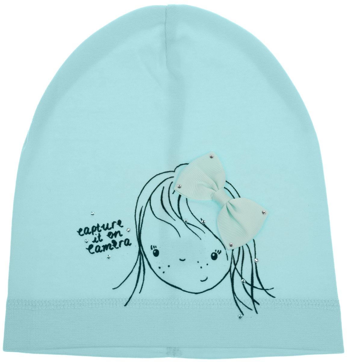 Шапка для девочки. DC4701-22DC4701-22-1Шапка для девочки Fishka станет стильным и красивым дополнением к детскому гардеробу. Шапка выполнена из мягкого эластичного материала, приятная на ощупь, идеально прилегает к голове. Изделие оформлено изображением девочки и надписью, декорировано атласным бантом и стразами. Современный дизайн и расцветка делают эту шапку модным детским аксессуаром. В такой шапке ребенок будет чувствовать себя уютно, комфортно и всегда будет в центре внимания! Уважаемые клиенты! Размер, доступный для заказа, является обхватом головы.