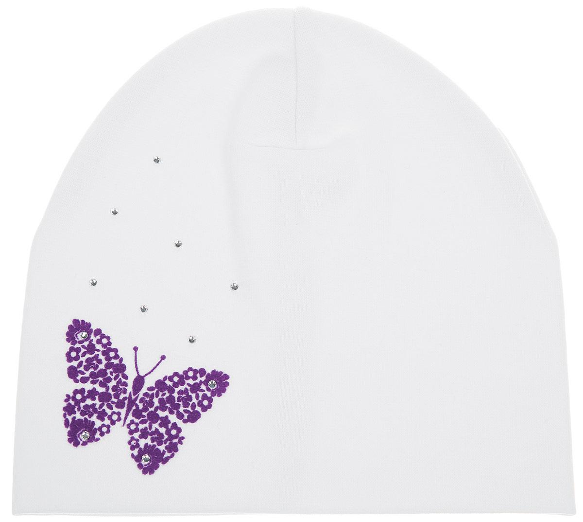 DC3730-22_1Шапка для девочки ПриКиндер станет стильным дополнением к детскому гардеробу. Она выполнена из хлопка с добавлением лайкры, приятная на ощупь, идеально прилегает к голове. Изделие декорировано стразами и аппликацией в виде бабочки. Современный дизайн и расцветка делают эту шапку модным детским аксессуаром. В такой шапке ребенок будет чувствовать себя уютно, комфортно и всегда будет в центре внимания!