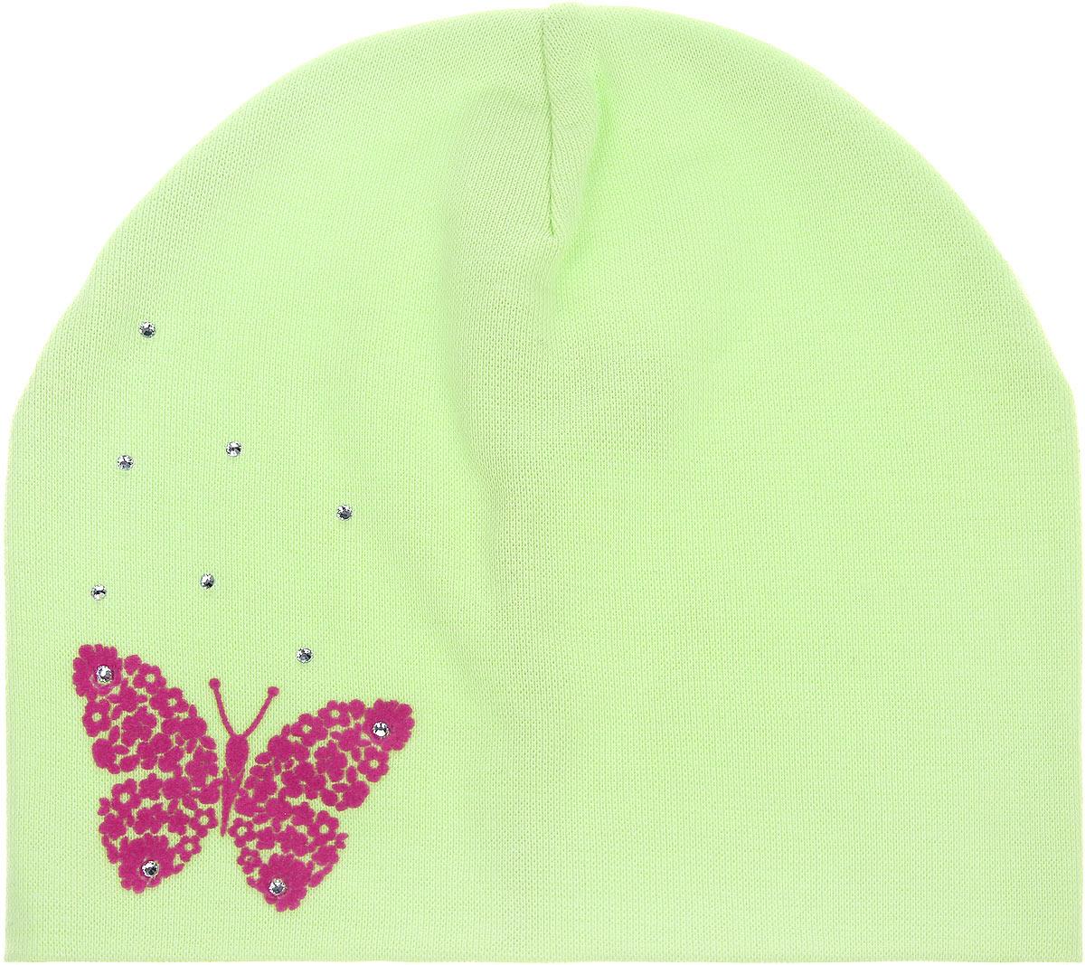 Шапка для девочки. DC3730-22DC3730-22_1Шапка для девочки ПриКиндер станет стильным дополнением к детскому гардеробу. Она выполнена из хлопка с добавлением лайкры, приятная на ощупь, идеально прилегает к голове. Изделие декорировано стразами и аппликацией в виде бабочки. Современный дизайн и расцветка делают эту шапку модным детским аксессуаром. В такой шапке ребенок будет чувствовать себя уютно, комфортно и всегда будет в центре внимания!