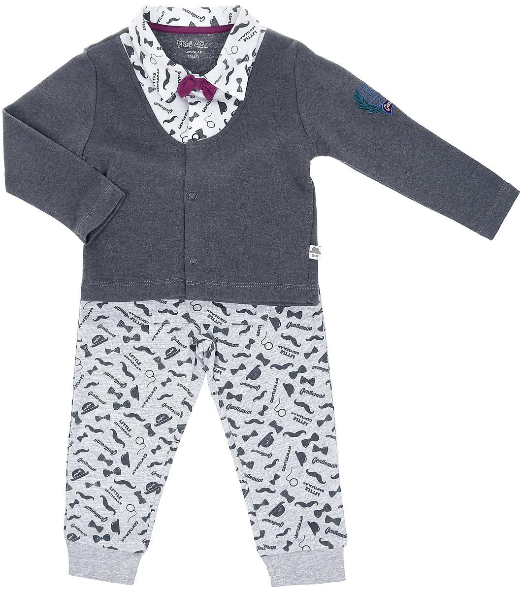 Комплект для мальчика: кофточка, брюки. ZBB 25332-GGW-0ZBB 25332-GGW-0Комплект одежды для мальчика Free Age станет отличным дополнением к детскому гардеробу. Он включает в себя кофточку и брюки. Комплект, изготовленный из натурального хлопка, мягкий, не раздражает нежную кожу ребенка и хорошо вентилируется, обеспечивая комфорт. Кофточка с отложным воротником и длинными рукавами застегивается спереди на металлические кнопки, что позволит легко переодеть малыша. Оформлена модель оригинальным принтом, украшена вышивкой и бантом, имитирующим галстук-бабочку. Брюки имеют на поясе широкую резинку с затягивающимся шнурком, благодаря чему они не сдавливают животик ребенка и не сползают. Спереди модель дополнена накладным карманом с металлическими застежками- кнопками. На брючинах предусмотрены мягкие манжеты. Оформлено изделие принтом. В таком комплекте ребенок всегда будет в центре внимания!