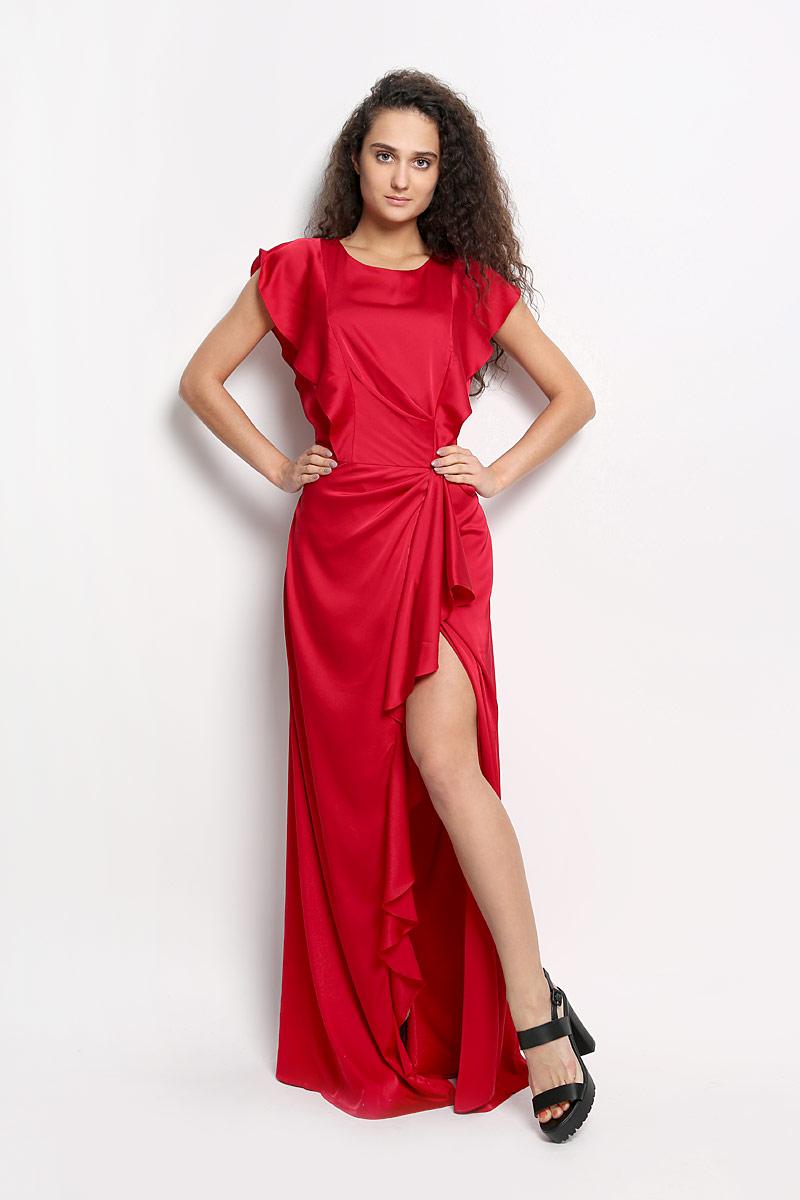Платье4606_404Элегантное платье Seam выполнено из высококачественного эластичного полиэстера. Такое платье обеспечит вам комфорт и удобство при носке. Модель без рукавов, с круглым вырезом горловины выгодно подчеркнет все достоинства вашей фигуры. Платье-макси застегивается на пуговицу сзади и застежку-молнию сбоку, дополнено завязками на талии. Модель красиво драпируется, спереди украшена разрезом до середины бедра, оформленным оборками. Изысканное платье-макси создаст обворожительный и неповторимый образ. Это модное и удобное платье станет превосходным дополнением к вашему гардеробу, оно подарит вам удобство и поможет вам подчеркнуть свой вкус и неповторимый стиль.