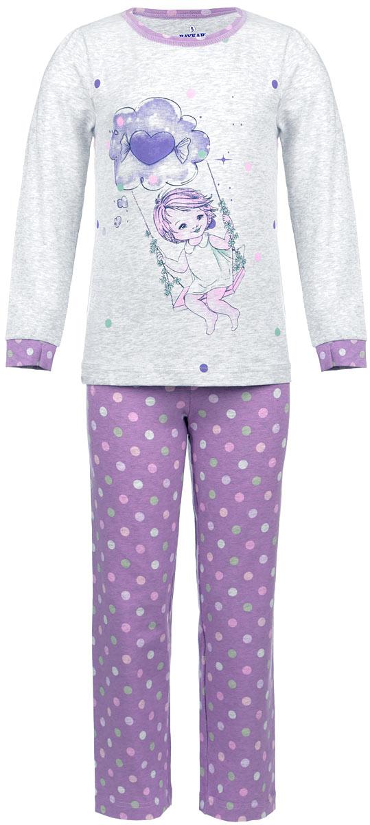 Пижама для девочки. N9035-82N9035-82Мягкая пижама для девочки Baykar, состоящая из футболки с длинным рукавом и брюк, идеально подойдет ребенку для отдыха и сна. Модель выполнена из эластичного хлопка, очень приятная к телу, не сковывает движения, хорошо пропускает воздух. Футболка с круглым вырезом горловины и длинными рукавами-фонариками украшена принтом с изображением девочки на качелях. Вырез горловины оформлен принтованной окантовкой. На рукавах предусмотрены мягкие манжеты. Плоские эластичные швы изделия обеспечивают комфорт и не вызывают раздражений. Брюки на талии имеют мягкую резинку, благодаря чему они не сдавливают животик ребенка и не сползают. Изделие оформлено принтом в горох. В такой пижаме маленькая принцесса будет чувствовать себя комфортно и уютно!