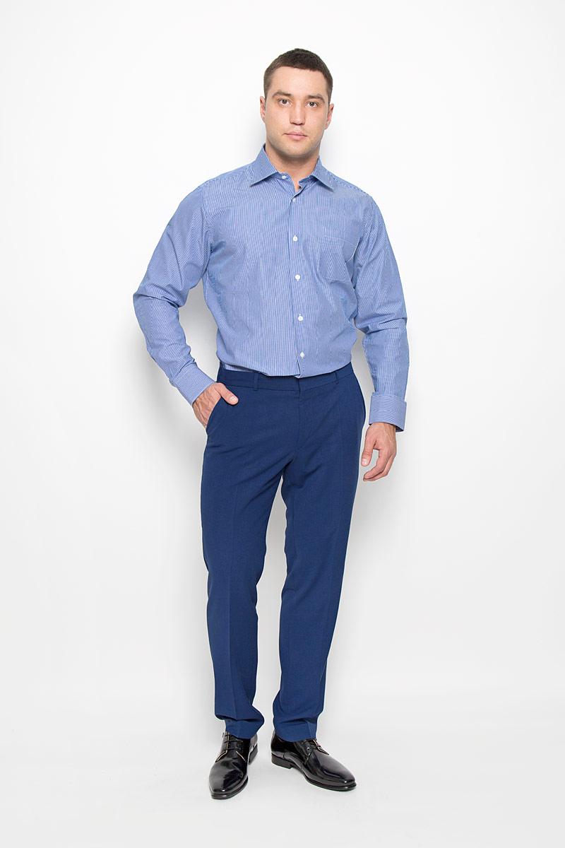 SW 88-07Стильная мужская рубашка KarFlorens, выполненная из натурального хлопка, подчеркнет ваш уникальный стиль и поможет создать оригинальный образ. Хлопковый материал великолепно пропускает воздух, обеспечивая необходимую вентиляцию, а также обладает высокой гигроскопичностью. Рубашка с длинными рукавами и отложным воротником застегивается на пуговицы спереди. Рукава рубашки дополнены манжетами, которые также застегиваются на пуговицы. Модель оформлена узором в полоску и дополнена одним нагрудным карманом. Классическая рубашка - превосходный вариант для базового мужского гардероба. Такая рубашка будет дарить вам комфорт в течение всего дня и послужит замечательным дополнением к вашему гардеробу.