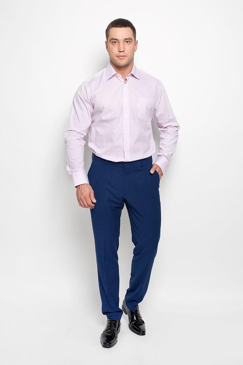 Рубашка мужская. SW 88SW 88-03Стильная мужская рубашка KarFlorens, выполненная из натурального хлопка, подчеркнет ваш уникальный стиль и поможет создать оригинальный образ. Такой материал великолепно пропускает воздух, обеспечивая необходимую вентиляцию, а также обладает высокой гигроскопичностью. Рубашка с длинными рукавами и отложным воротником застегивается на пуговицы спереди. Рукава рубашки дополнены манжетами, которые также застегиваются на пуговицы. Модель оформлена актуальным узором в узкую полоску и дополнена накладным нагрудным карманом. Классическая рубашка - превосходный вариант для базового мужского гардероба и отличное решение на каждый день. Такая рубашка будет дарить вам комфорт в течение всего дня и послужит замечательным дополнением к вашему гардеробу.
