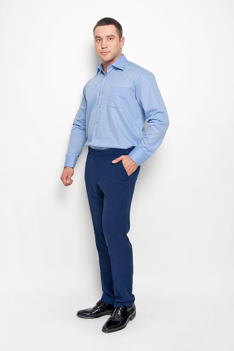 Рубашка мужская. SW 82SW 82-02Стильная мужская рубашка KarFlorens, выполненная из хлопка с добавлением микрофибры, подчеркнет ваш уникальный стиль и поможет создать оригинальный образ. Такой материал великолепно пропускает воздух, обеспечивая необходимую вентиляцию, а также обладает высокой гигроскопичностью. Рубашка с длинными рукавами и отложным воротником застегивается на пуговицы спереди. Рукава рубашки дополнены манжетами, которые также застегиваются на пуговицы. Однотонная модель дополнена накладным нагрудным карманом. Классическая рубашка - превосходный вариант для базового мужского гардероба и отличное решение на каждый день. Такая рубашка будет дарить вам комфорт в течение всего дня и послужит замечательным дополнением к вашему гардеробу.
