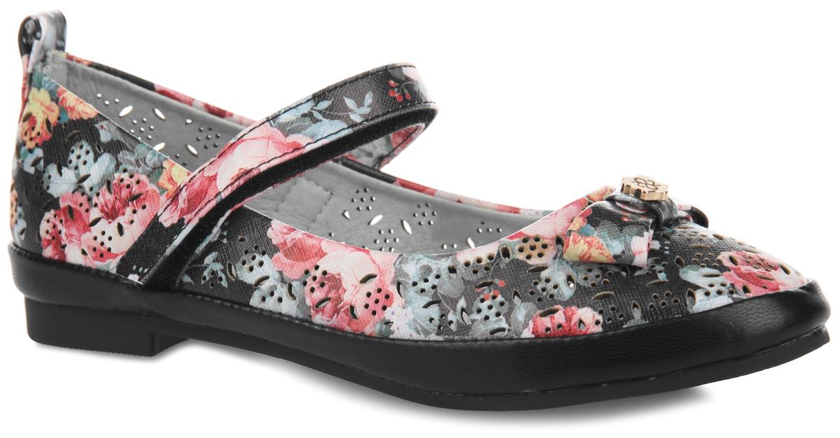 Туфли для девочки. 619-6619-6Чудесные туфли от Adagio придутся по душе вашей юной моднице! Модель на невысоком широком каблучке выполнена из искусственной кожи, оформленной ярким цветочным принтом и перфорацией для лучшей воздухопроницаемости. Мыс украшен милым бантиком, дополненным по центру декоративным металлическим элементом, задник - ярлычком для более удобного надевания обуви. Ремешок на застежке-липучке надежно зафиксирует изделие на ножке ребенка. Подкладка и стелька, изготовленные из натуральной кожи, предотвратят натирание и гарантируют уют. Стелька дополнена супинатором, который обеспечивает правильное положение ноги ребенка при ходьбе, предотвращает плоскостопие. Подошва оснащена рифлением для лучшего сцепления с различными поверхностями. Удобные туфли - незаменимая вещь в гардеробе каждой девочки.