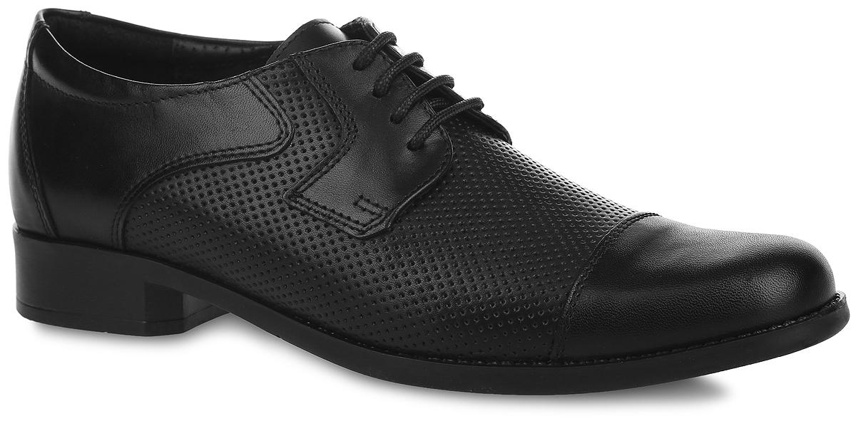 Туфли для мальчика. 5-347512015-34751201Стильные туфли от Elegami придутся по душе вашему юному моднику! Модель выполнена из натуральной кожи и оформлена в передней части и по бокам перфорацией. Подкладка и стелька, изготовленные из натуральной кожи, предотвратят натирание и гарантируют уют. Стелька дополнена супинатором, который обеспечивает правильное положение ноги ребенка при ходьбе, предотвращает плоскостопие. Классическая шнуровка надежно зафиксирует изделие на ноге. Подошва оснащена рифлением для лучшего сцепления с различными поверхностями. Удобные классические туфли - незаменимая вещь в гардеробе каждого мальчика.