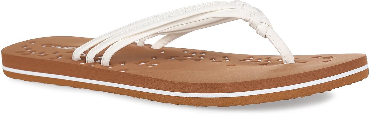 Сланцы женские Fw Ditsy. 609522609522-1010Прелестные сланцы от ONeill покорят вас с первого взгляда. Верх модели выполнен из полиуретана в виде трех жгутов, оригинально переплетенных между собой. Ремешки с перемычкой гарантируют надежную фиксацию изделия на ноге. Верхняя часть подошвы, которая выполнена из ЭВА материала, декорирована оригинальным геометрическим тиснением и названием бренда. Рельефное основание подошвы из резины обеспечивает уверенное сцепление с любой поверхностью. Удобные сланцы прекрасно подойдут для похода в бассейн или на пляж.