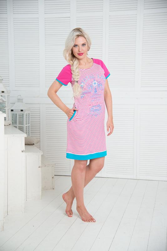 Платье домашнееSS16-PL-05Домашнее платье Santi выполнено из натурального хлопка. Платье-миди с круглым вырезом горловины и короткими рукавами оформлено принтом в полоску, спереди - принтом в морском стиле. По бокам расположены втачные карманы. Рукава, края карманов и низ изделия дополнены трикотажными резинками.