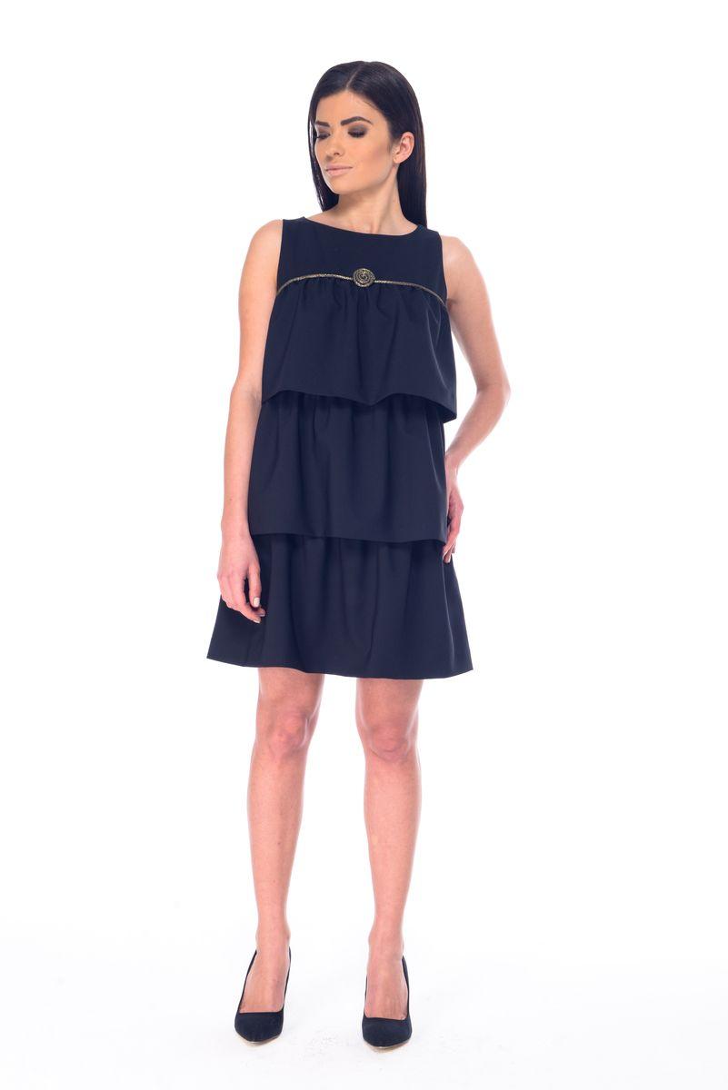Платье09061Платье Arefeva выполнено из полиэстера с добавлением спандекса и дополнено тонкой подкладкой. Платье-миди с круглым вырезом горловины застегивается на потайную застежку-молнию расположенную в среднем шве спинке. Перед модели оформлен оборками и оригинальным декоративным элементом.