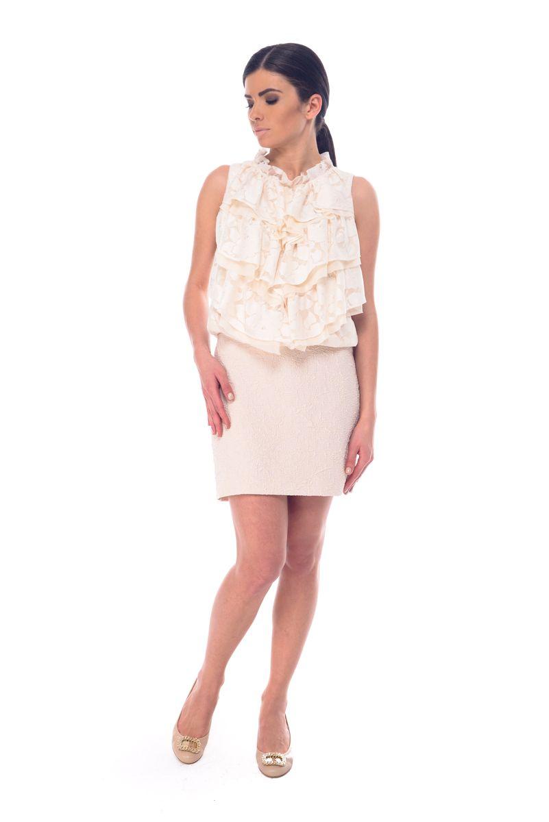 ЮбкаL 3050Стильная юбка Arefeva, выполненная из полиэстера и вискозы с добавлением спандекса и люрекса, обеспечит вам комфорт и удобство при носке. Юбка-мини застегивается сзади на скрытую застежку-молнию. Модель оформлена рельефным принтом.