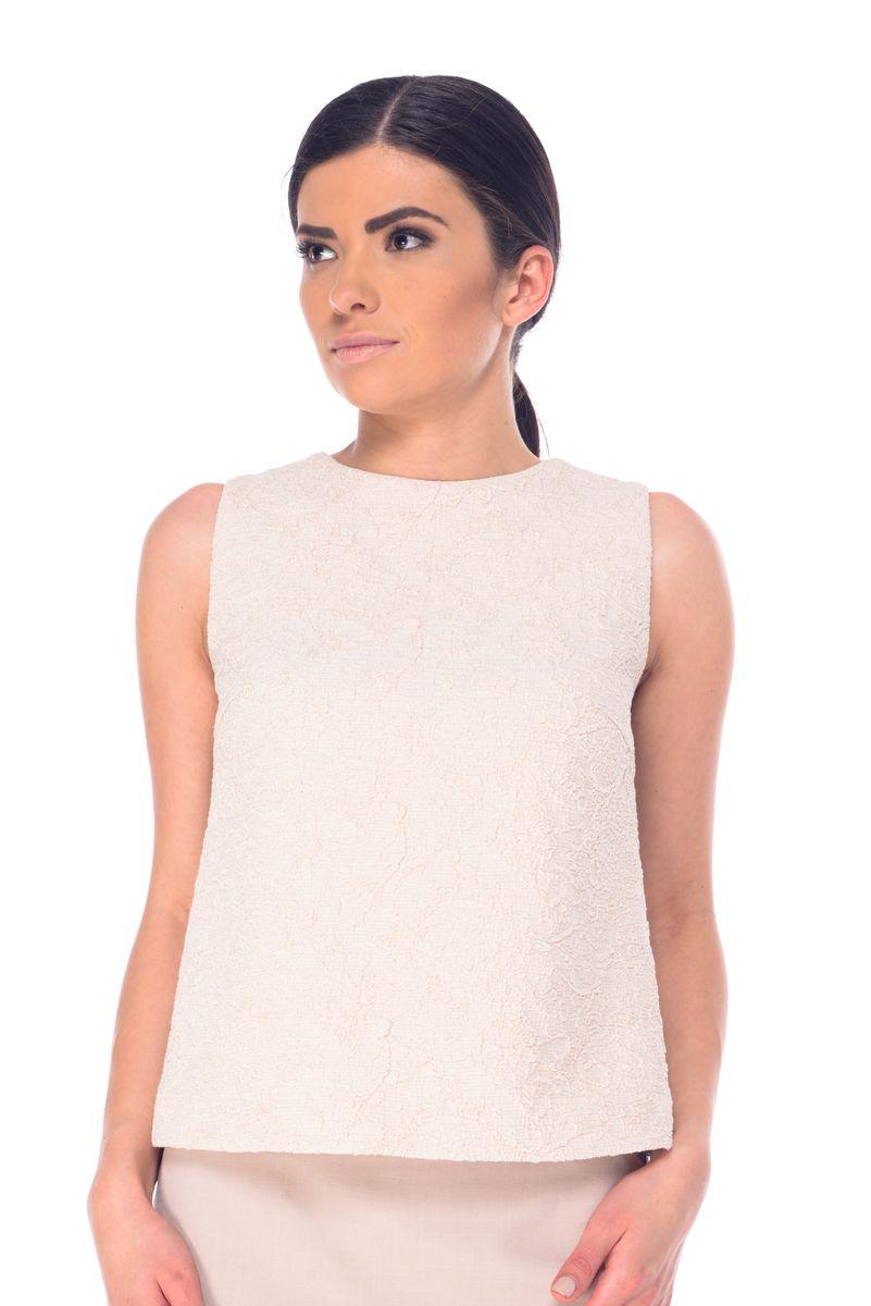 БлузкаL 7050Женская блузка Arefeva выполнена из высококачественного комбинированного материала и дополнена подкладкой из полиэстера. Перед изделия выполнен из жатого материала и декорирован металлизированной нитью. Модель с круглым вырезом горловины застегивается на небольшую навесную пуговичку расположенную на спинке.