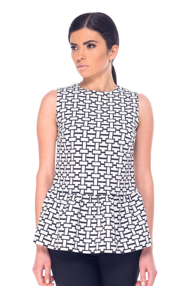 БлузкаL 7051Женская блузка Arefeva выполнена из полиэстера с добавлением хлопка и спандекса. Модель с круглым вырезом горловины по спинке оформлена небольшим разрезом и бантом. Линия талии дополнена баской. Блузка оформлена геометрическим принтом.