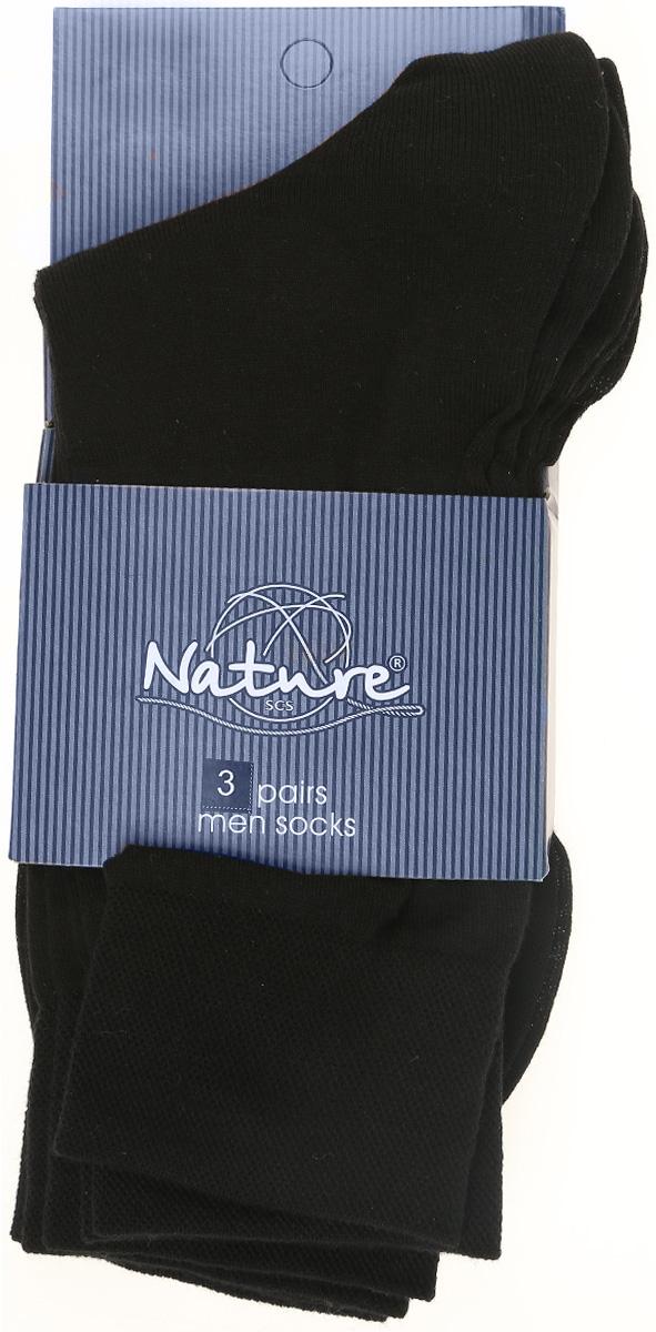 Носки мужские, 3 пары. 11001100Удобные мужские носки Nature, изготовленные из высококачественного комбинированного материала, идеально подойдут для повседневной носки. Благодаря содержанию мягкого хлопка в составе, кожа сможет дышать, полиамид обеспечивает износостойкость, а эластан позволяет носочкам легко тянуться, что делает их комфортными в носке. Эластичная резинка плотно облегает ногу, не сдавливая ее, обеспечивая комфорт и удобство. Практичные и комфортные носки с укрепленным мыском и пяткой великолепно подойдут к вашей повседневной обуви. В комплект входят 3 пары носков.
