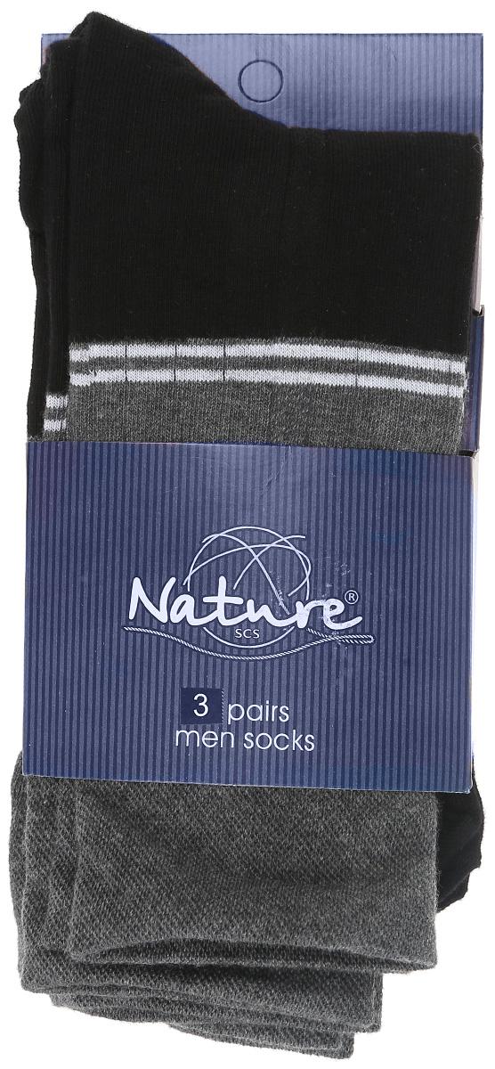 Носки мужские, 3 пары. 14051405Удобные мужские носки Nature, изготовленные из высококачественного комбинированного материала, идеально подойдут для повседневной носки. Благодаря содержанию мягкого хлопка в составе, кожа сможет дышать, полиамид обеспечивает износостойкость, а эластан позволяет носочкам легко тянуться, что делает их комфортными в носке. Эластичная резинка плотно облегает ногу, не сдавливая ее, обеспечивая комфорт и удобство. Практичные и комфортные носки с укрепленным мыском и пяткой великолепно подойдут к вашей повседневной обуви. В комплект входят 3 пары носков.
