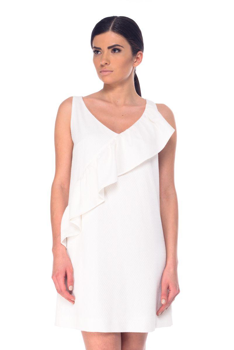 ПлатьеL 9054Модное платье Arefeva поможет создать отличный современный образ. Модель, изготовленная из нейлона и вискозы с добавлением полиэстера и спандекса, застегивается на скрытую застежку-молнию, расположенную на спинке. Платье-миди с V-образным вырезом горловины и без рукавов оформлено рельефным принтом и рюшами.