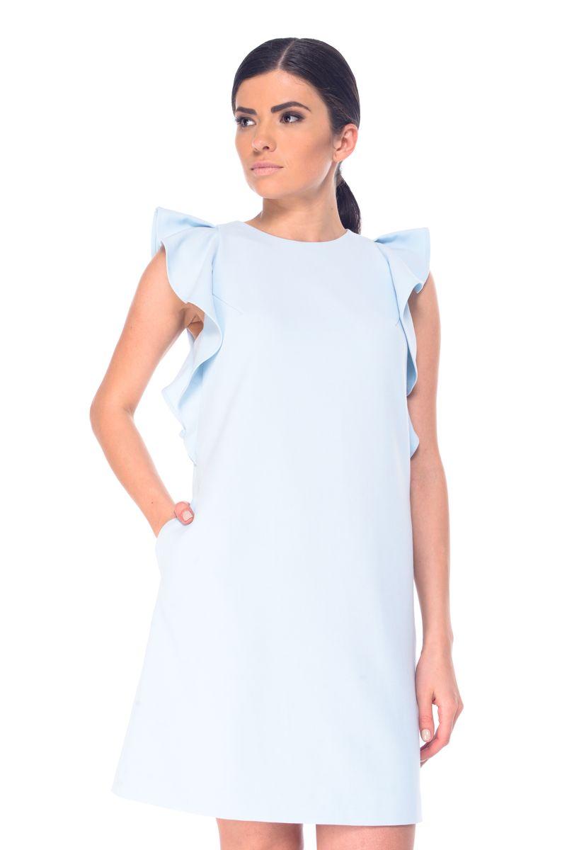L 9069Стильное платье Arefeva выполнено из полиэстера с добавлением спандекса. Платье-миди с круглым вырезом горловины и короткими рукавами-крылышками застегивается на скрытую застежку-молнию, расположенную на спинке. По бокам расположены втачные карманы.