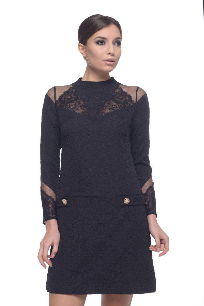 Платье09030Модное платье Arefeva поможет создать отличный современный образ. Модель, изготовленная из эластичного полиэстера, застегивается на скрытую застежку-молнию, расположенную на спинке. Платье-миди с воротником-стойкой и длинными рукавами оформлено рельефным принтом и кружевными вставками.