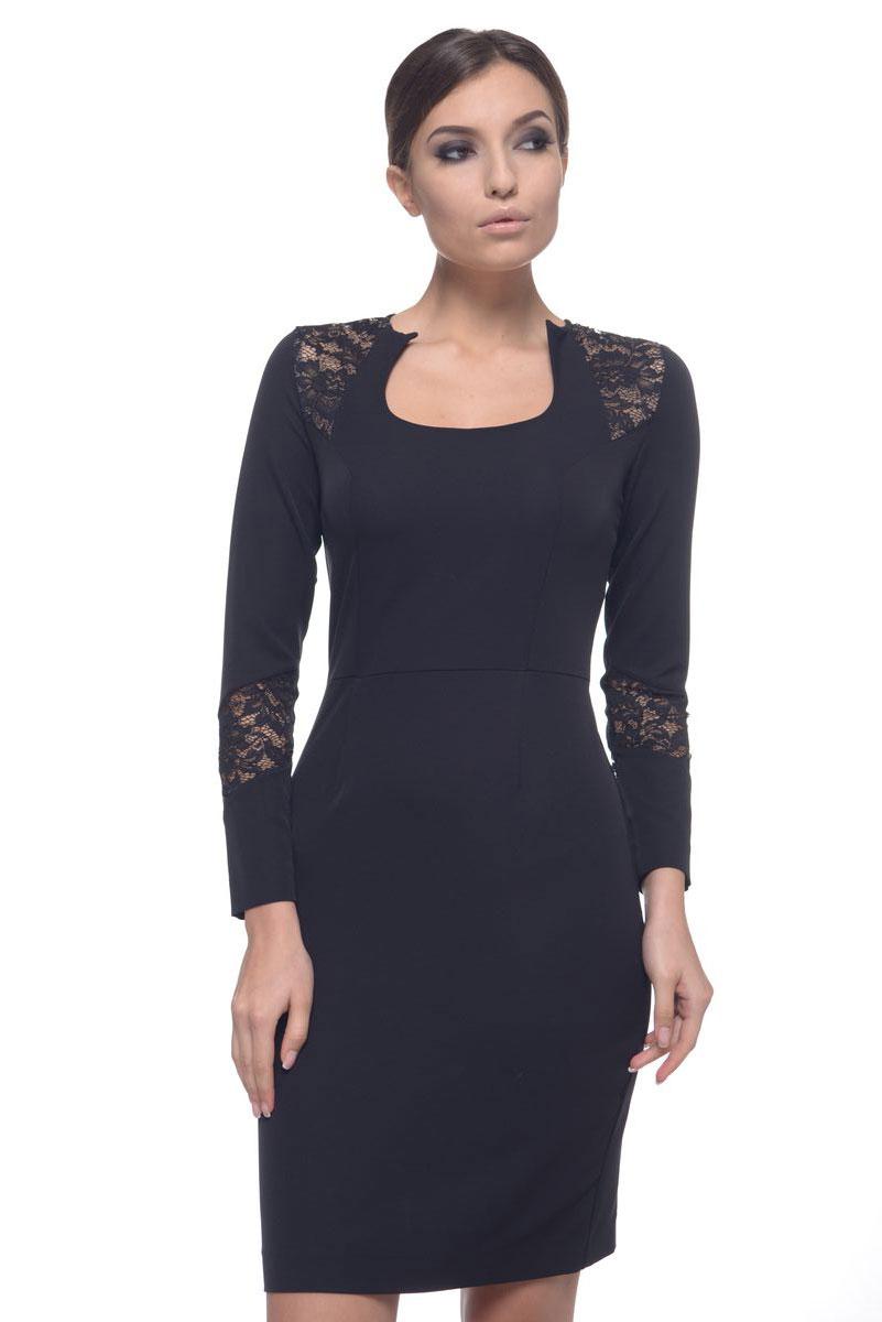Платье09028Модное платье Arefeva поможет создать отличный современный образ. Модель, изготовленная из эластичного полиэстера, застегивается на скрытую застежку- молнию, расположенную на спинке. Платье-миди с фигурным вырезом горловины и длинными рукавами оформлено кружевными вставками.