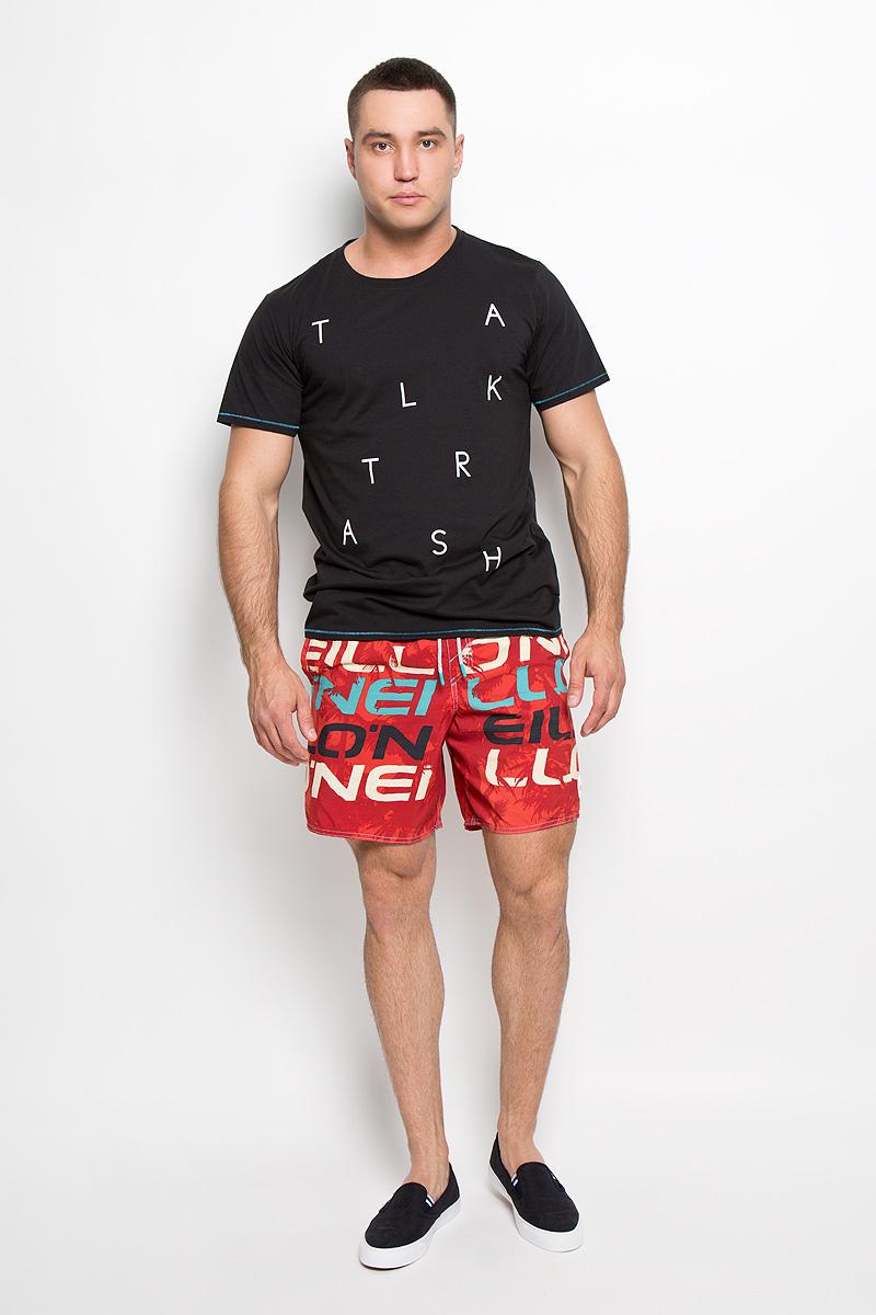 Футболка601710-9010Стильная мужская футболка ONeill, выполненная из высококачественного полиэстера с добавлением хлопка, обладает высокой воздухопроницаемостью и гигроскопичностью, позволяет коже дышать. Такая футболка великолепно подойдет как для повседневной носки, так и для спортивных занятий. Модель с короткими рукавами и круглым вырезом горловины - идеальный вариант для создания модного современного образа. Футболка оформлена принтом с надписью Talk Trash. Такая модель подарит вам комфорт в течение всего дня и послужит замечательным дополнением к вашему гардеробу.