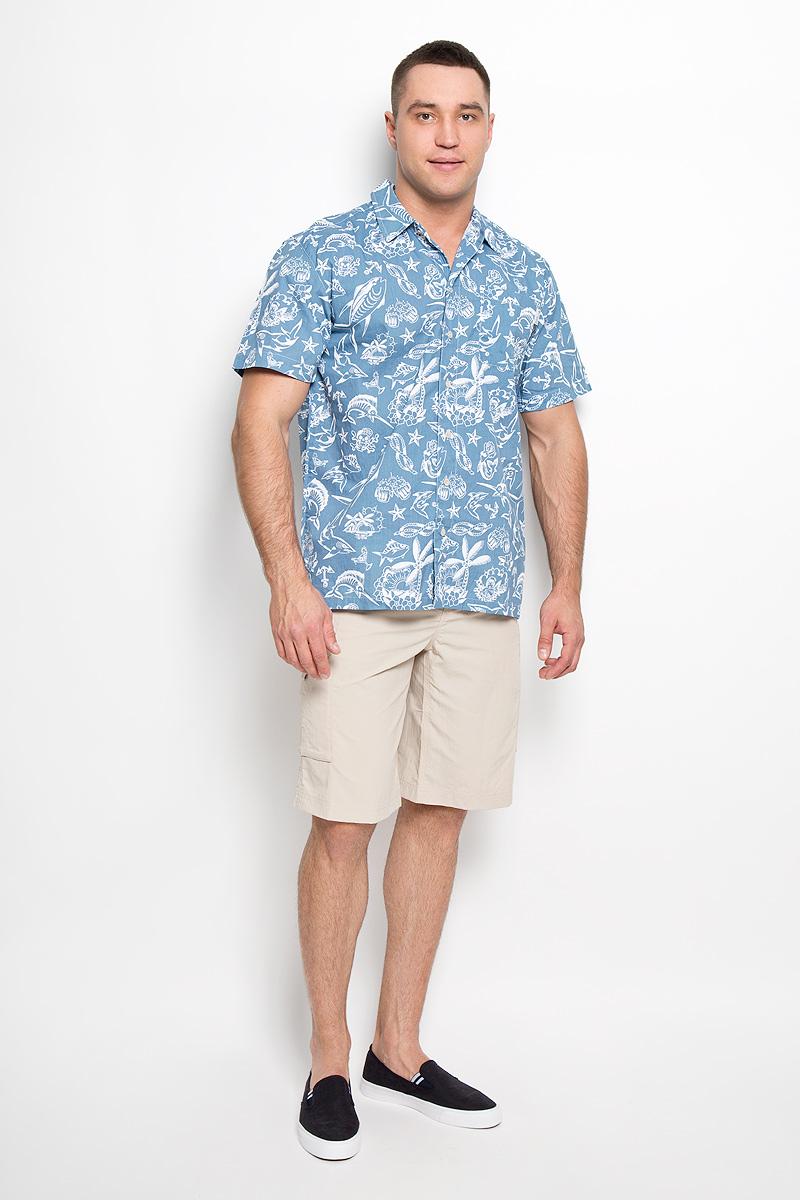 Рубашка мужская Trollers Best. 1438981-4131438981-413Стильная мужская рубашка Columbia Trollers Best, выполненная из натурального хлопка с сетчатыми вставками из полиэстера, подчеркнет ваш уникальный стиль и поможет создать оригинальный образ. Такой материал великолепно пропускает воздух, обеспечивая необходимую вентиляцию, а также превосходно отводит влагу от тела, благодаря чему такая рубашка подойдет для активного отдыха в жаркое время года. Рубашка с короткими рукавами и отложным воротником застегивается на пуговицы спереди. Модель дополнена открытым нагрудным карманом. Рубашка оформлена оригинальным принтом с рисунками на морскую тематику. Такая рубашка будет дарить вам комфорт в течение всего дня и послужит замечательным дополнением к вашему гардеробу.