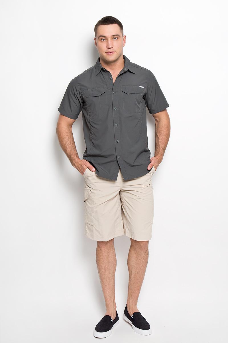 Рубашка мужская Silver Ridge. 1441661-0281441661-028Стильная мужская рубашка Columbia Silver Ridge, выполненная из нейлона с сетчатыми вставками из полиэстера, подчеркнет ваш уникальный стиль и поможет создать оригинальный образ. Такой материал великолепно пропускает воздух, обеспечивая необходимую вентиляцию, а также превосходно отводит влагу от тела, благодаря чему такая рубашка подойдет для активного отдыха в жаркое время года. Рубашка с короткими рукавами и отложным воротником застегивается на пуговицы спереди. Модель дополнена двумя нагрудными карманами с клапанами на липучках. Классическая рубашка - превосходный вариант для базового мужского гардероба и отличное решение на каждый день. Такая рубашка будет дарить вам комфорт в течение всего дня и послужит замечательным дополнением к вашему гардеробу.
