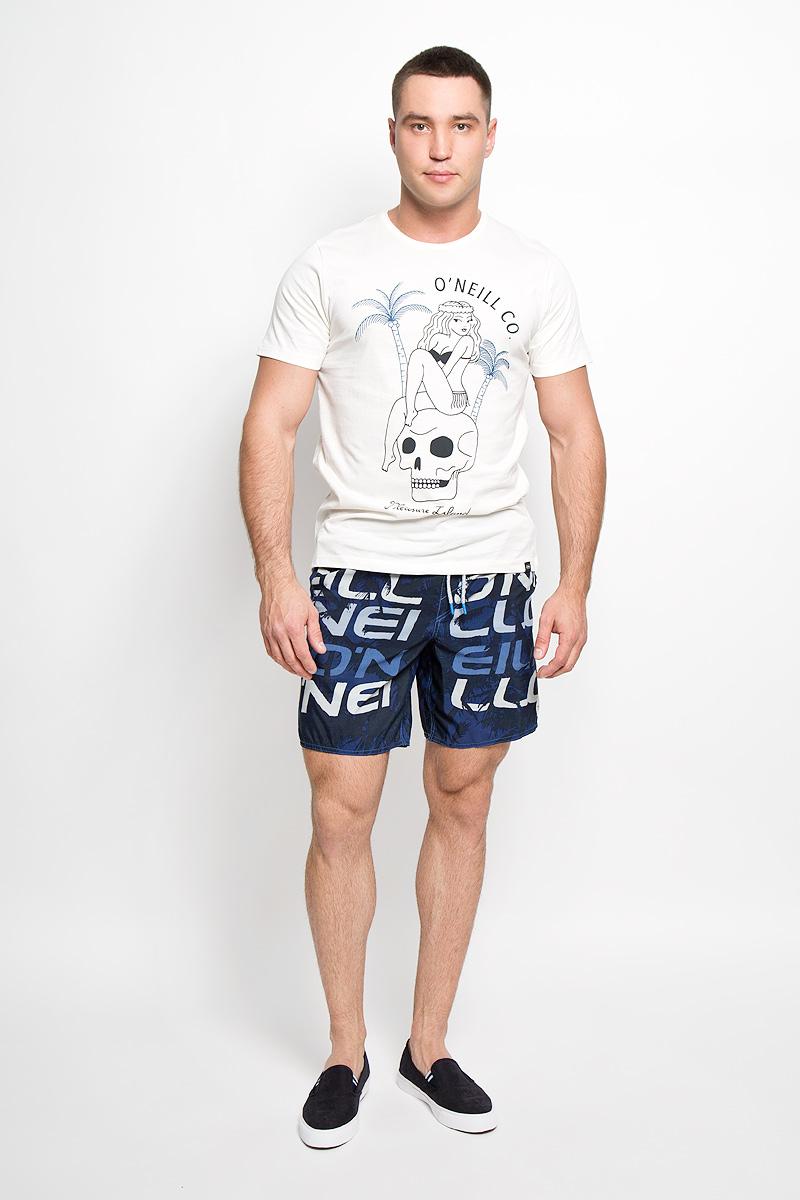 Футболка мужская. 602341602341-1030Стильная мужская футболка ONeill, выполненная из высококачественного хлопка, обладает высокой воздухопроницаемостью и гигроскопичностью, позволяет коже дышать. Такая футболка великолепно подойдет как для повседневной носки, так и для спортивных занятий. Модель с короткими рукавами и круглым вырезом горловины - идеальный вариант для создания модного современного образа. Футболка оформлена принтом с изображением девушки, сидящей на черепе, и надписью Pleasure Island. Такая модель подарит вам комфорт в течение всего дня и послужит замечательным дополнением к вашему гардеробу.