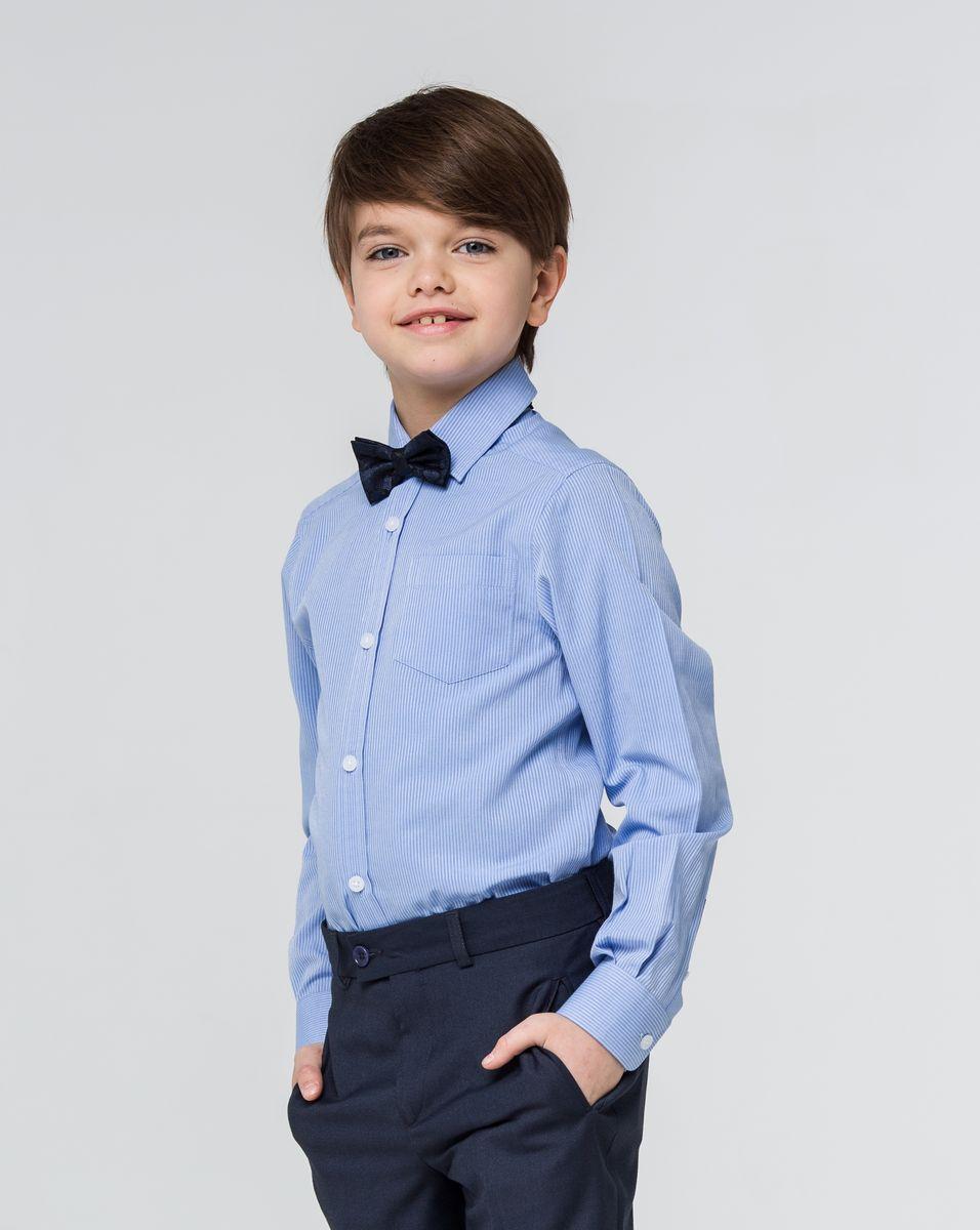 РубашкаSSFSB-629-13830-318Стильная рубашка Silver Spoon станет отличным дополнением к школьному гардеробу вашего мальчика. Модель, выполненная из хлопка с добавлением полиэстера, необычайно мягкая и приятная на ощупь, не сковывает движения и позволяет коже дышать. Рубашка классического кроя с длинными рукавами и отложным воротником застегивается на пуговицы по всей длине. На манжетах предусмотрены застежки-пуговицы. Модель оформлена принтом в мелкую полоску. На груди расположен накладной карман.