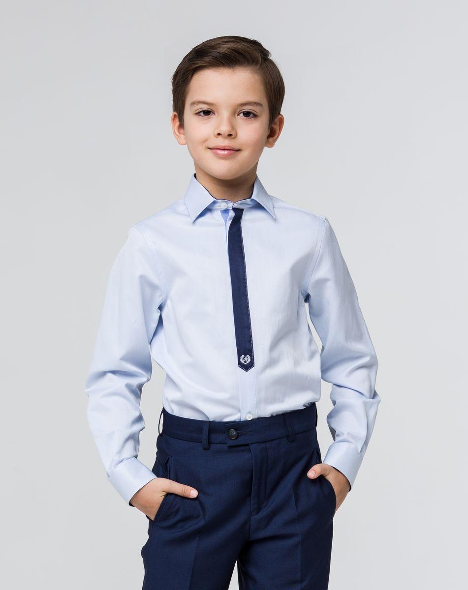 РубашкаSSFSB-629-13832-200Стильная рубашка Silver Spoon станет отличным дополнением к школьному гардеробу вашего мальчика. Модель, выполненная из хлопка с добавлением полиэстера, необычайно мягкая и приятная на ощупь, не сковывает движения и позволяет коже дышать. Рубашка классического кроя с длинными рукавами и отложным воротником застегивается на пуговицы по всей длине. Пуговицы скрыты под планкой, стилизованной под галстук. На манжетах предусмотрены застежки-пуговицы. Рукава в области локтей оформлены декоративными заплатками.