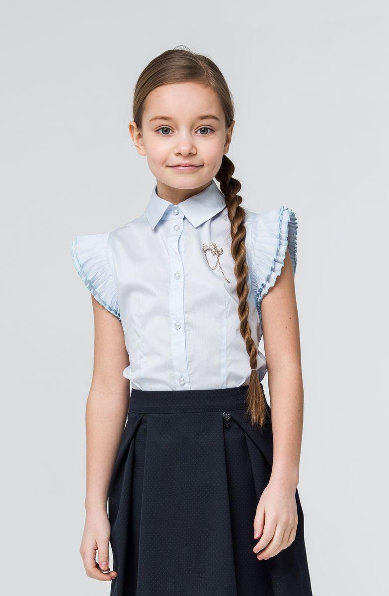 SSFSG-629-23104-303Очаровательная блузка Silver Spoon станет отличным дополнением к школьному гардеробу вашей девочки. Модель изготовлена из хлопка с добавлением полиамида и эластана. Блузка с отложным воротником и короткими рукавами-бабочками застегивается спереди на пуговицы по всей длине. На груди модель оформлена металлической брошкой, украшенной стразами.