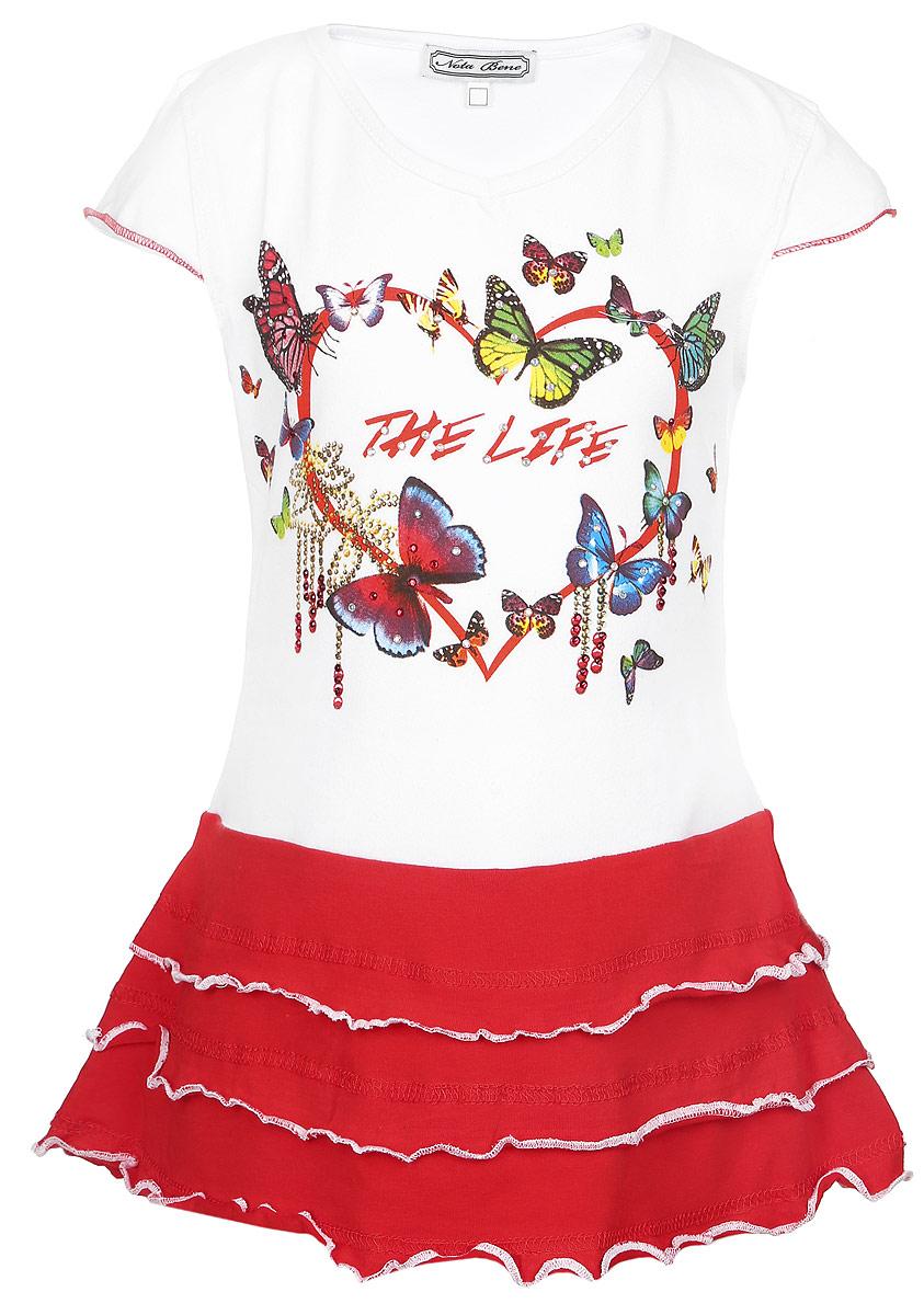 Платье для девочки. SS161G246SS161G246-1Легкое платье для девочки Nota Bene отлично дополнит образ маленькой модницы. Платье изготовлено из мягкой эластичной ткани, оно приятное к телу, не сковывает движения и хорошо пропускает воздух, обеспечивая комфорт. Модель с V-образным вырезом горловины и короткими рукавами-крылышками украшена принтом с изображением сердечка и бабочек. По низу платье дополнено двойной оборкой. Края изделия оформлены контрастной прострочкой. Платье декорировано разноцветными стразами. Такое платье станет ярким и красивым дополнением к гардеробу, в нем ваша принцесса всегда будет в центре внимания!