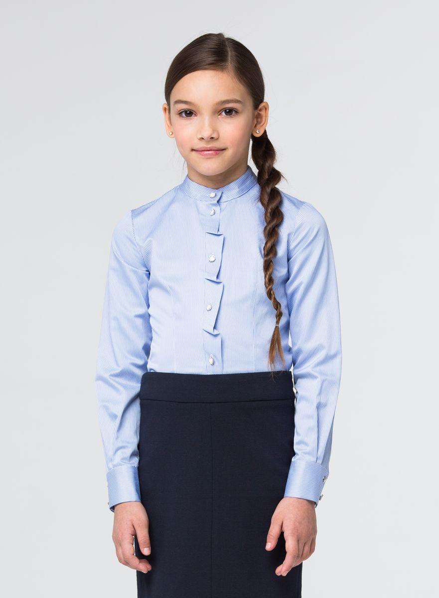 БлузкаSSFSG-629-23006-314Очаровательная блузка Silver Spoon станет отличным дополнением к школьному гардеробу вашей девочки. Модель изготовлена из хлопка с добавлением полиэстера. Блузка с воротником-стойкой и длинными рукавами застегивается спереди на пуговицы, украшенные стразами. Манжеты рукавов оснащены застежками-пуговицами. Модель оформлена принтом в полоску.
