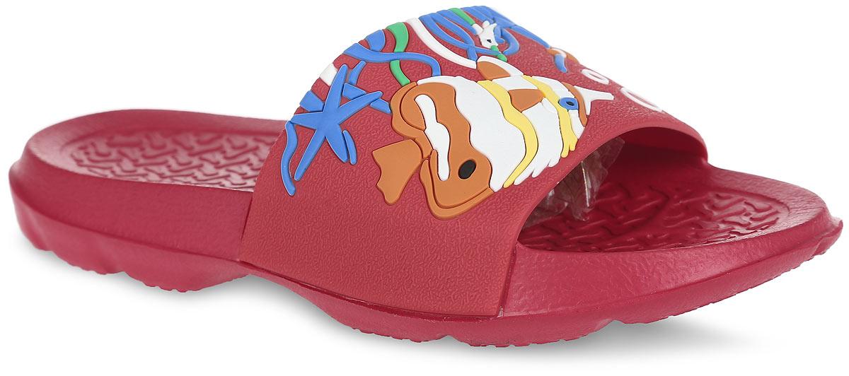 Шлепанцы82087Комфортные шлепанцы от Kapika придутся по душе вашему ребенку. Модель полностью выполнена из ЭВА материала и оформлена яркими объемными декоративными элементами в морской тематике. Материал ЭВА имеет пористую структуру, обладает великолепными теплоизоляционными и морозостойкими свойствами, 100% водонепроницаемостью, придает обуви амортизационные свойства, мягкость при ходьбе, устойчивость к истиранию подошвы. Рифление на верхней поверхности подошвы предотвращает выскальзывание ноги. Гибкая подошва дополнена рифлением, которое гарантирует идеальное сцепление с любыми поверхностями. Удобные шлепанцы прекрасно подойдут для похода в бассейн или на пляж.