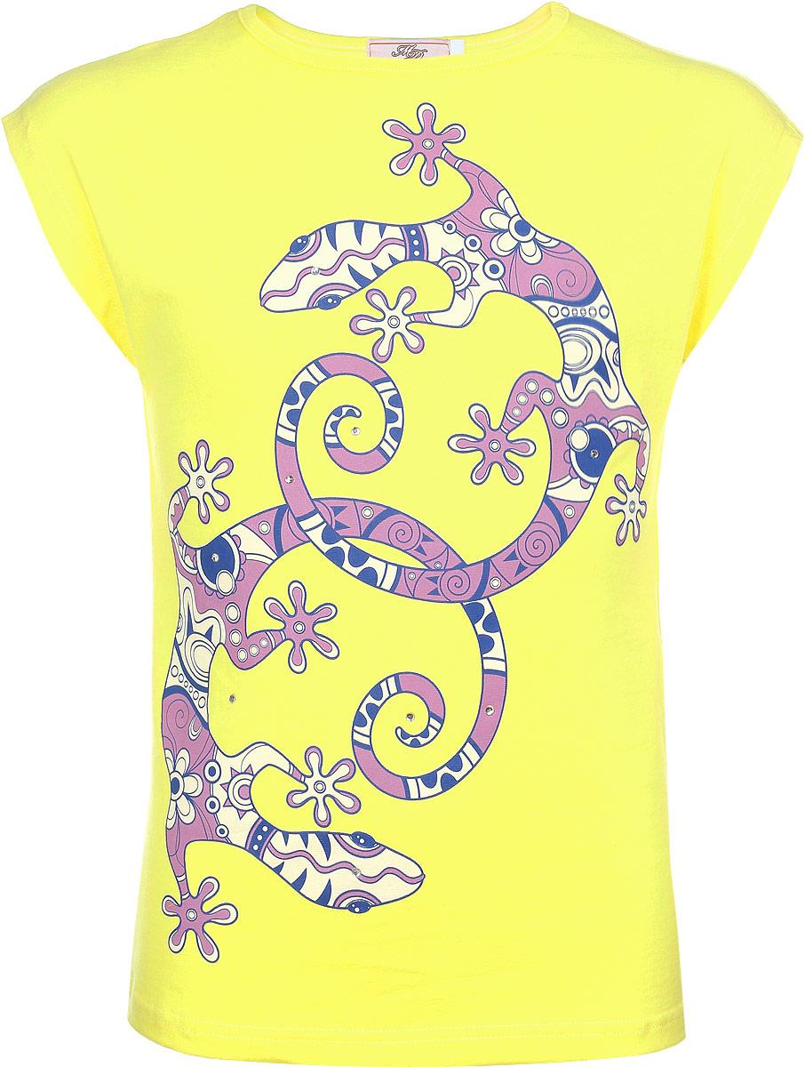 SSF263J19-14Футболка для девочки M&D сделает образ ребенка ярким и модным. Изготовленная из мягкого эластичного хлопка, она приятная на ощупь, не сковывает движения и хорошо пропускает воздух, обеспечивая комфорт. Футболка с круглым вырезом горловины и короткими рукавами оформлена оригинальным принтом, декорированным стразами. Стильный дизайн и высокое качество исполнения принесут удовольствие от покупки и подарят отличное настроение!