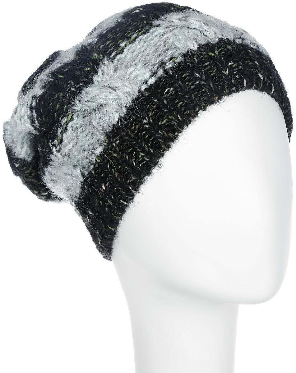 Шапка женская. 42504250Стильная женская шапка Noryalli - теплая удлиненная модель для холодной погоды. Сочетание различных материалов обеспечивает сохранение тепла и удобную посадку. Шапка выполнена оригинальной вязкой и оформлена кожаной эмблемой с логотипом бренда. Понизу проходит широкая вязаная резинка. Макушка украшена оригинальным помпоном. Такая шапка - комфортная защита от холода.