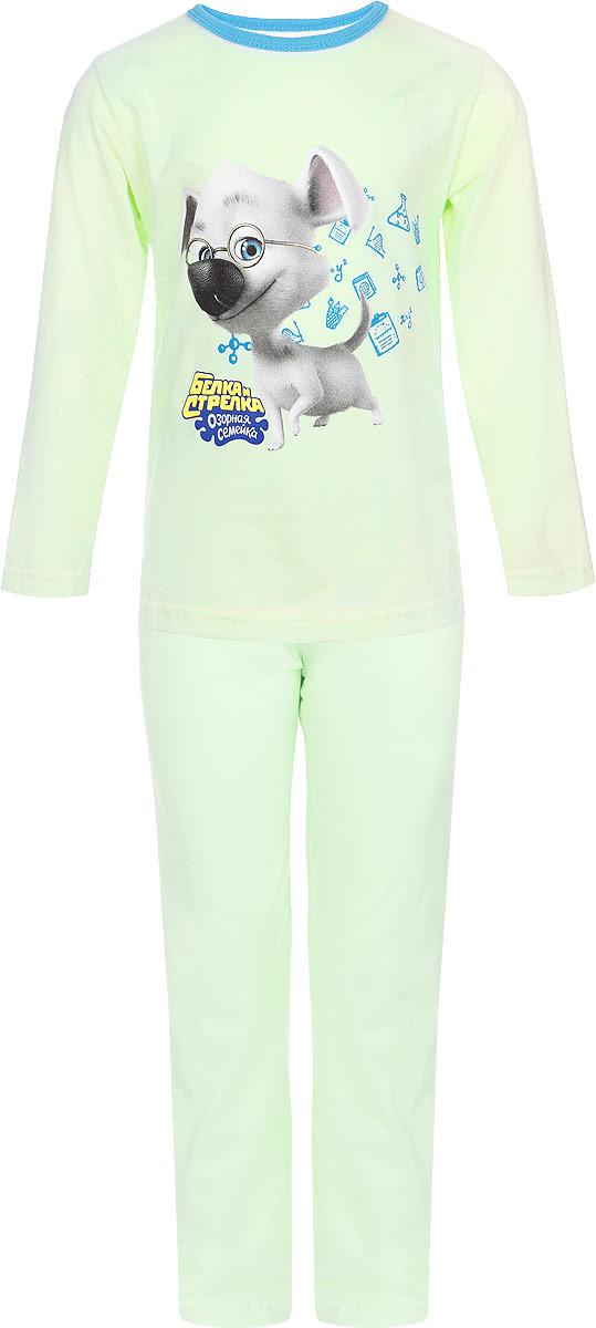 Пижама детская. 1660616606Пижама КотМарКот, состоящая из футболки с длинным рукавом и брюк, идеально подойдет ребенку для отдыха и сна. Модель выполнена из натурального хлопка, очень приятная к телу, не сковывает движения, хорошо пропускает воздух. Футболка с длинными рукавами имеет круглый вырез горловины, оформленный трикотажной резинкой контрастного цвета. Изделие украшено принтом с изображением персонажа мультфильма Белка и Стрелка. Озорная семейка, а также принтовой надписью. Брюки прямого кроя имеют на талии мягкую резинку, благодаря чему они не сдавливают животик ребенка и не сползают. В такой пижаме ребенок будет чувствовать себя комфортно и уютно!