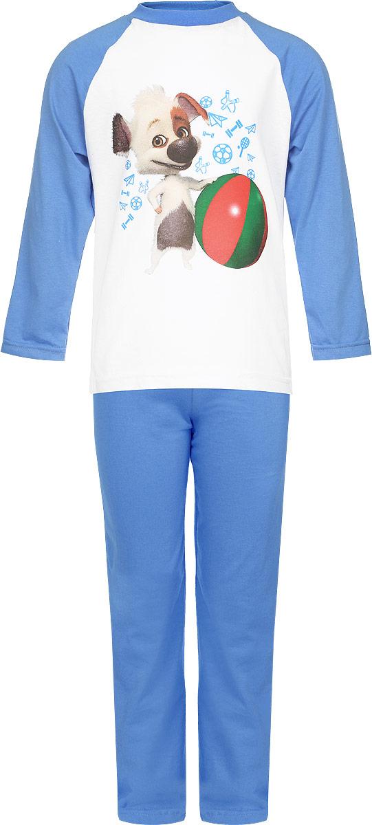 Пижама16507Пижама для мальчика КотМарКот, выполненная из натурального хлопка, идеально подойдет ребенку для отдыха и сна. Материал изделия легкий, тактильно приятный, не сковывает движения, хорошо пропускает воздух. Пижама состоит из футболки с длинным рукавом и брюк. Футболка с длинными рукавами-реглан имеет круглый вырез горловины, дополненный трикотажной резинкой. Изделие украшено ярким принтом с изображением персонажа мультфильма Белка и Стрелка. Озорная семейка. Брюки прямого кроя имеют на талии мягкую резинку, благодаря чему они не сдавливают животик ребенка и не сползают. В такой пижаме ребенок будет чувствовать себя комфортно и уютно!