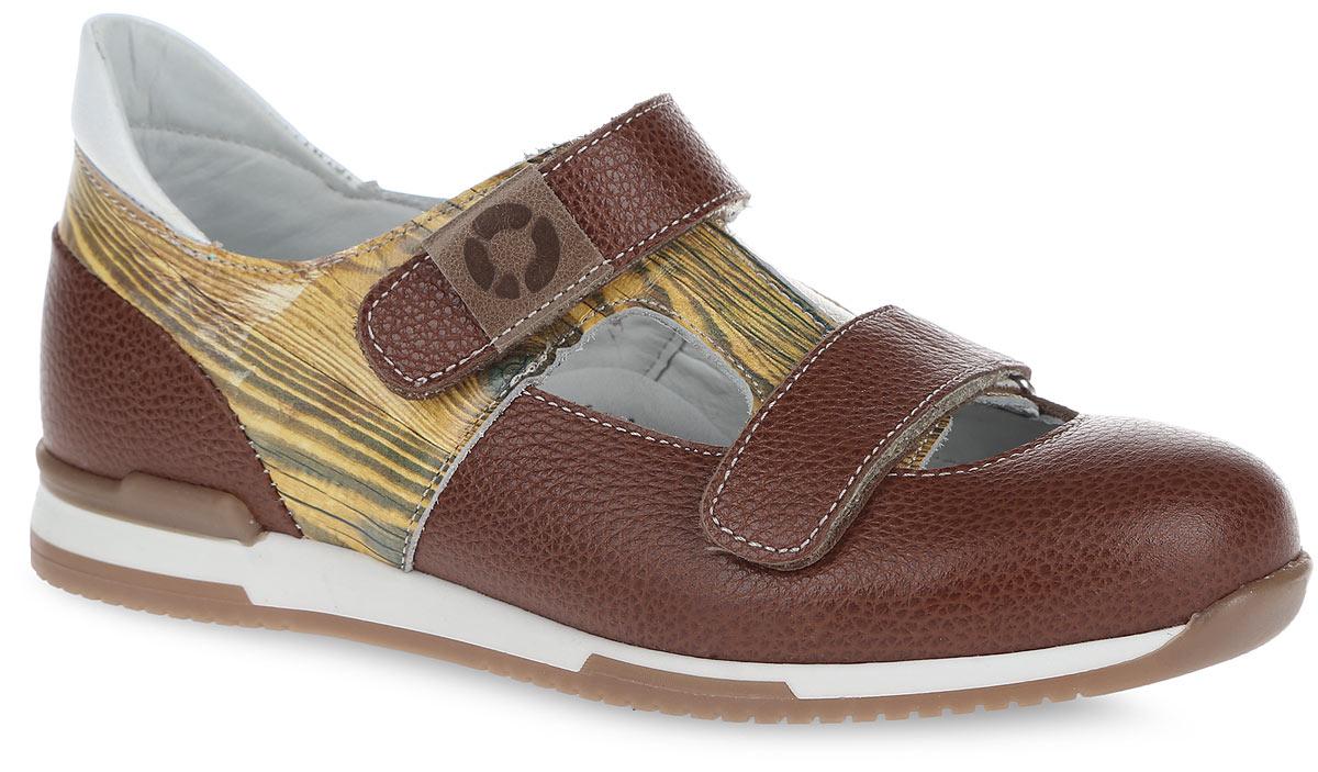 Туфли детские. FT-25004.16-OL13O.01FT-25004.16-OL13O.01Детские туфли от TapiBoo прекрасно подойдут для ежедневной профилактики плоскостопия. Модель выполнена из натуральной кожи с зернистой фактурой и оформлена по бокам, в верхней части принтом под бук, на заднике - контрастной вставкой из кожи. Ремешки на застежках-липучках позволяют легко, снимать и надевать обувь даже самым маленьким детям, обеспечивая при этом оптимальную фиксацию стопы. Верхний ремешок оформлен нашивкой с символикой бренда. Кожаная подкладка предотвратит натирание. Анатомическая стелька, изготовленная из натуральной кожи, дополнена сводоподдерживающим элементом для правильного формирования стопы. Благодаря использованию современных внутренних материалов позволяет оптимально распределить нагрузку по всей площади стопы и свести к минимуму ее ударную составляющую. Жесткий фиксирующий задник надежно стабилизирует голеностопный сустав во время ходьбы. Эластичный подносок надежно защищает переднюю часть стопы ребенка не сжимая пальцы ног, ...