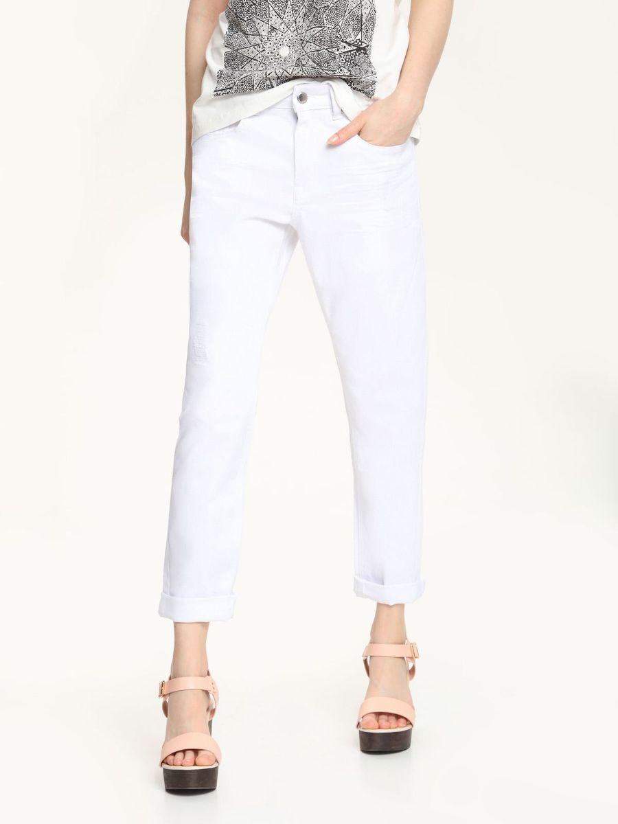 БрюкиSSP2249BIСтильные женские брюки Top Secret, выполненные из высококачественного материала, отлично подойдут на каждый день. Модель зауженного кроя, укороченной длины и средней посадки. На поясе брюки застегиваются на пуговицу и ширинку на застежке-молнии. Брюки дополнены двумя втачными карманами и одним накладным маленьким кармашком спереди и два накладных кармана сзади.