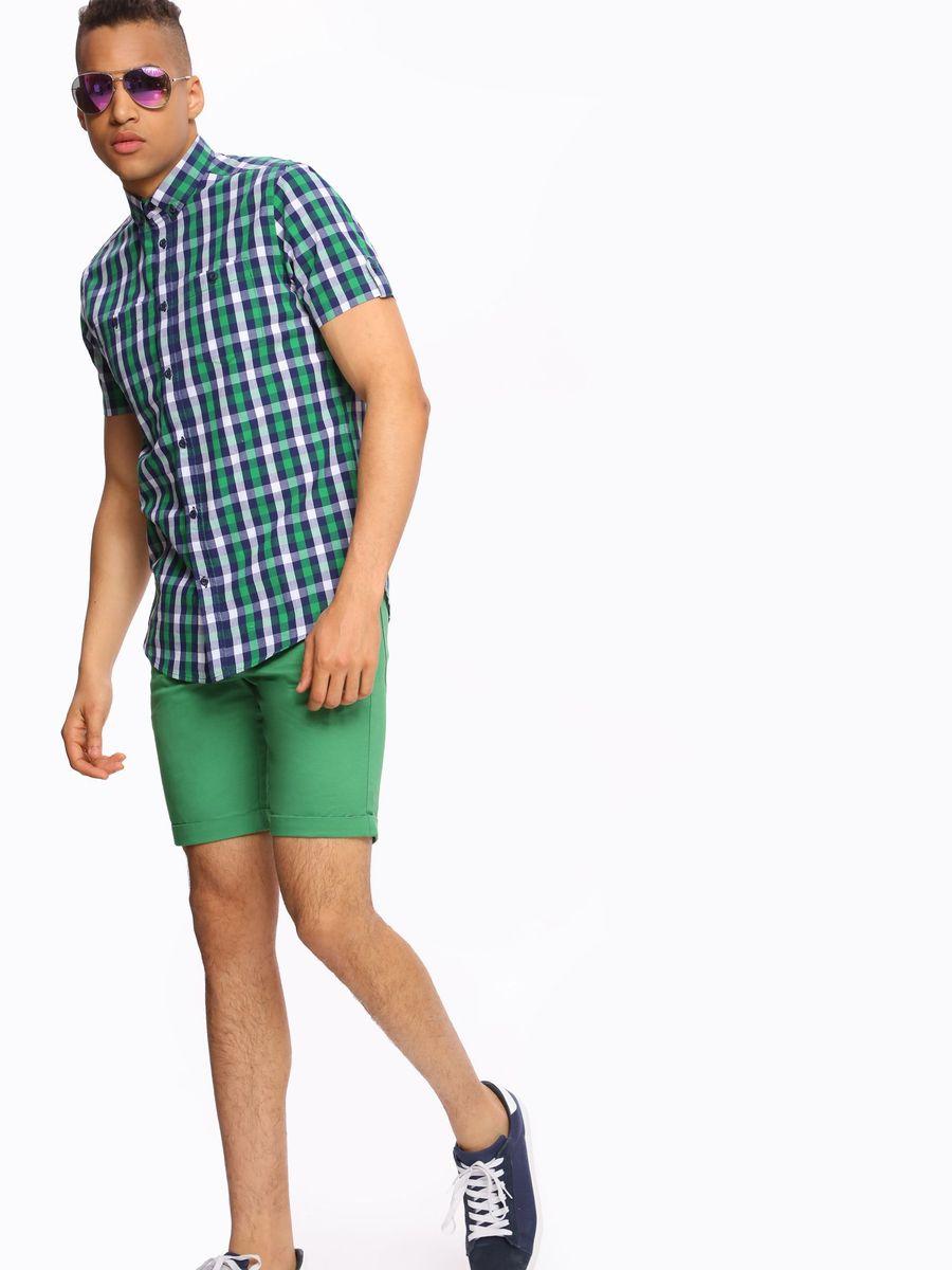 РубашкаSKS0908ZIМужская рубашка Top Secret, выполненная из высококачественного хлопка. Рубашка прямого кроя с короткими рукавами и отложным воротником застегивается на пуговицы и дополнена двумя нагрудными карманами. Модель оформлена стильным принтом в клетку.