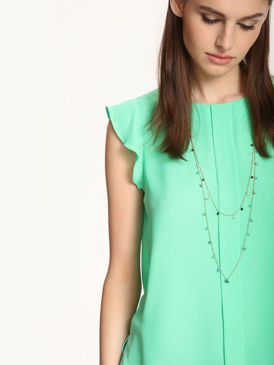 SKS0899ZIЖенская блуза Top Secret выполнена из 100% полиэстера. Модель с круглым вырезом горловины и короткими рукавами-крылышками застегивается на пуговичку сзади. Перед дополнен складкой, а в боковых швах обработаны разрезы.