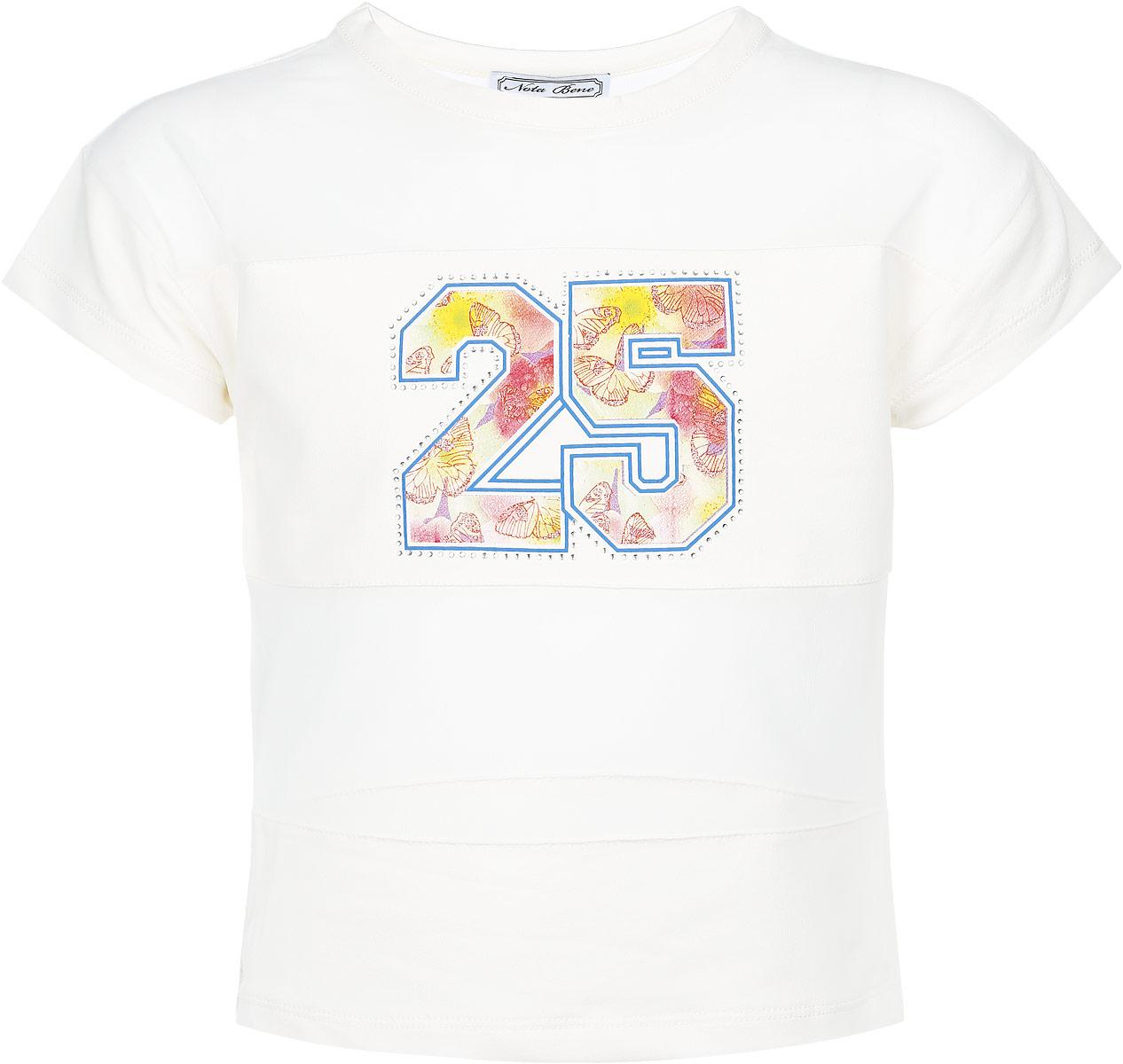 SS162G5341-1Стильная футболка для девочки Nota Bene идеально подойдет юной моднице и станет отличным дополнением к ее гардеробу. Модель выполнена из комбинированной ткани - трикотажа и мягкой микросетки. Она очень мягкая и приятная на ощупь, не сковывает движения ребенка и позволяет коже дышать, обеспечивая наибольший комфорт. Модель с круглым вырезом горловины и короткими рукавами оформлена оригинальным принтом, украшенным стразами и блестящим напылением. В такой футболке ребенок будет чувствовать себя комфортно, уютно и всегда будет в центре внимания!