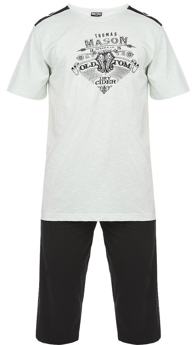 Комплект мужской MasoN: футболка, капри. 71412142 483471412142 4834Мужской комплект одежды Vienettas Secret MasoN состоит из брюк-капри и футболки. Комплект изготовлен из приятного на ощупь высококачественного натурального хлопка, он станет незаменимым элементом вашего домашнего гардероба. Все элементы комплекта превосходно сидят, не сковывают движения, великолепно пропускают воздух и позволяют коже дышать, что делает их удобными для повседневной носки. Капри дополнены широкой эластичной резинкой на поясе и двумя втачными карманами по бокам. Объем талии регулируется при помощи шнурка-кулиски. Футболка с круглым вырезом горловины и короткими рукавами украшена оригинальным принтом. Этот практичный и модный комплект - настоящее воплощение комфорта. В нем вы всегда будете чувствовать себя удобно и уютно.