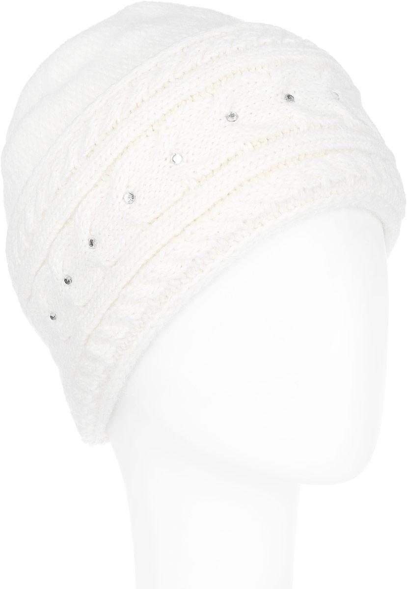 Шапка женская. 7108S7108S_11 GMСтильная женская шапка Flioraj - теплая модель для холодной погоды. Сочетание различных материалов обеспечивает сохранение тепла и удобную посадку. Модель отлично тянется и оформлена крупной фигурной вязкой и стразами. Понизу шапка дополнена широким отворотом. Flioraj - комфортная защита от холода.