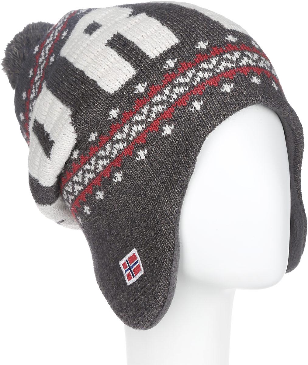 Шапка женская. 43744374Женская шапка Noryalli отлично подойдет для холодной погоды. Изготовленная из мягкой пряжи смешанного состава, она обладает хорошими дышащими свойствами и хорошо удерживает тепло. Подкладка из мягкого флиса обеспечит дополнительную теплоизоляцию и комфорт. Шапка очень практична, благодаря длинным ушкам вам будет не страшна даже самая ветреная погода. Оформлена модель помпоном на макушке, оригинальным узором, надписью Norway и небольшой нашивкой в виде норвежского флага. Такая шапка может стать настоящей изюминкой, способной привнести нужный акцент в ваш образ!
