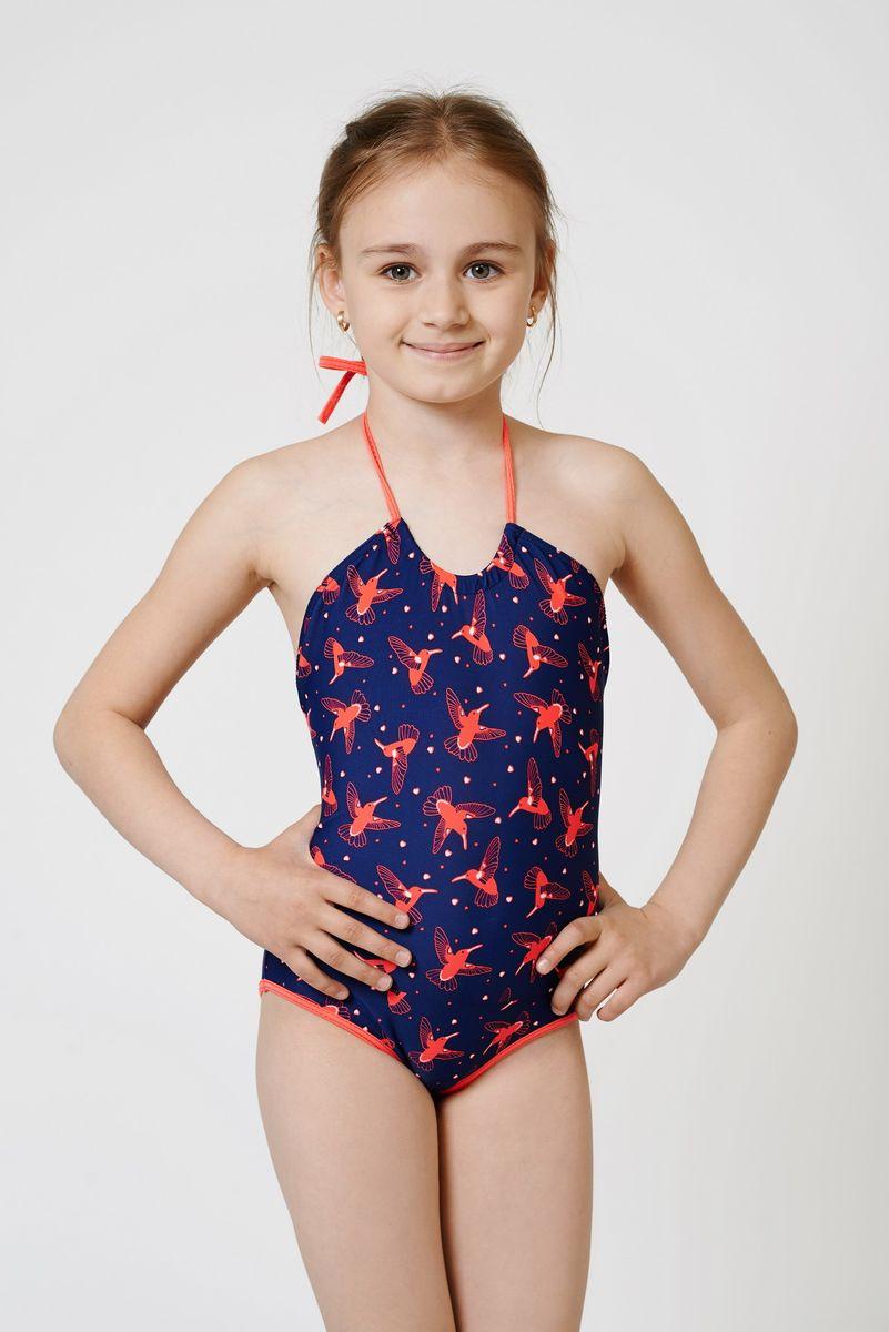Купальник слитный01-1813-200_20Стильный принтованный пляжный купальник для девочки. Необычный крой очень понравится маленьким модницам. Материал устойчив к морской и хлорированной воде.