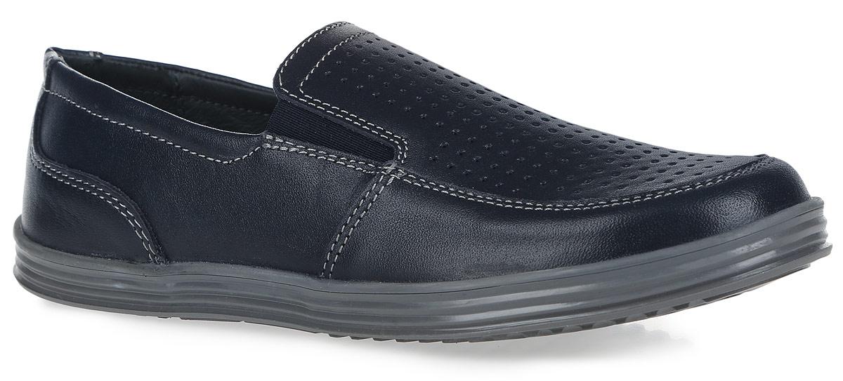Туфли для мальчика. 632151632151-21Стильные туфли для мальчика от Котофей выполнены из натуральной высококачественной кожи и оформлены по верху перфорацией для лучшей воздухопроницаемости, а также - контрастной прострочкой. Носочная часть и задник усилены кожаной накладкой с износостойкой поверхностью. Отсутствие застежек позволяет легко обувать и снимать обувь. Расположенные по бокам эластичные вставки обеспечивают лучшее прилегание обуви к стопе. Кожаные подкладка и стелька, которая дублирована мягким вспененным материалом, гарантируют комфорт при ходьбе. Подошва оснащена рифлением для лучшего сцепления с поверхностями. Такие туфли займут достойное место среди коллекции обуви вашего ребенка.