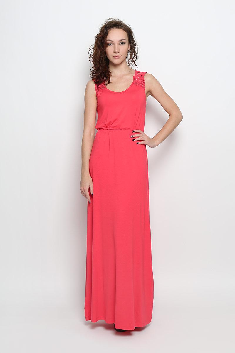 Платье Casual. Dksl-117/749-6226Dksl-117/749-6226Модное платье Sela Casual, изготовленное из мягкой эластичной вискозы, поможет создать привлекательный образ. Материал изделия тактильно приятный, хорошо вентилируется. Модель-макси с V-образным вырезом горловины дополнена завязками на спинке. Верх платья изготовлен из кружевной ткани. Линию талии подчеркивают эластичная резинка и узкий текстильный пояс в виде косички с двумя бусинами. Стильный дизайн и расцветка подчеркнут вашу индивидуальность!