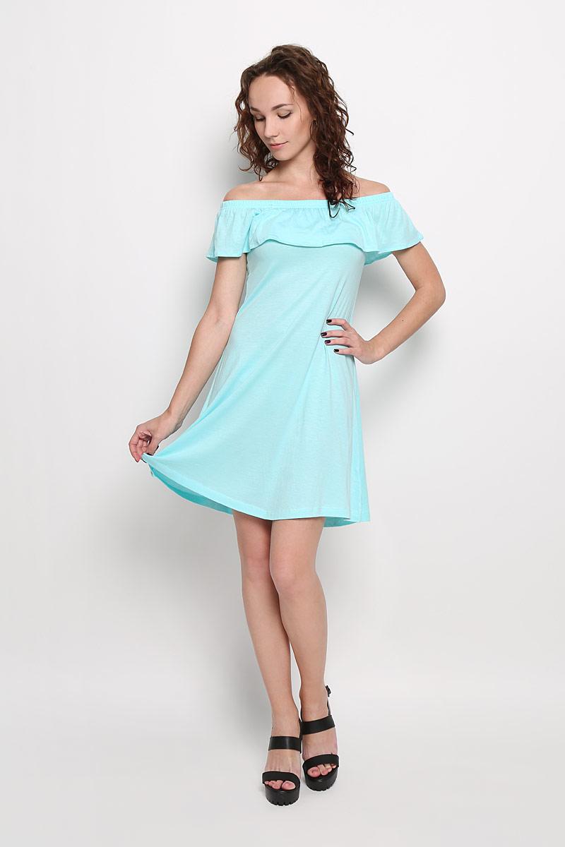 Платье. Dksl-317/099-6215Dksl-317/099-6215Легкое платье Sela Casual поможет создать привлекательный женственный образ. Изделие выполнено из хлопка и вискозы, очень мягкое, приятное к телу, не сковывает движения и хорошо вентилируется. Модель имеет эластичный вырез горловины Анжелика, декорированный широкой оборкой. Это эффектное платье займет достойное место в вашем гардеробе!