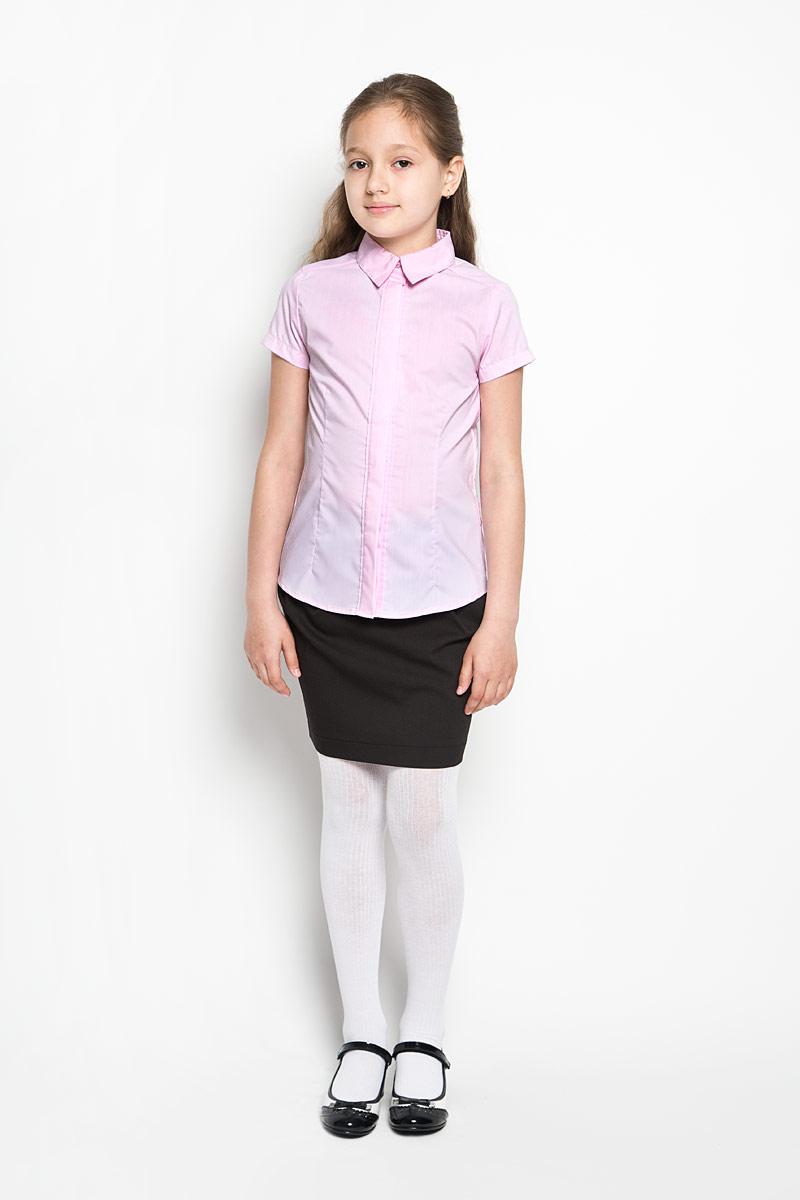 Блузка64165_OLGЭлегантная блузка для девочки Orby School идеально подойдет для школы. Изготовленная из полиэстера с добавлением хлопка, она необычайно мягкая, легкая и приятная на ощупь, не сковывает движения и позволяет коже дышать, не раздражает даже самую нежную и чувствительную кожу ребенка, обеспечивая наибольший комфорт. Блузка приталенного силуэта с отложным воротником и короткими рукавами застегивается на пуговицы скрытые под планкой. Такая блузка - незаменимая вещь для школьной формы, отлично сочетается с юбками, брюками и сарафанами. Эта модель всегда выглядит великолепно!